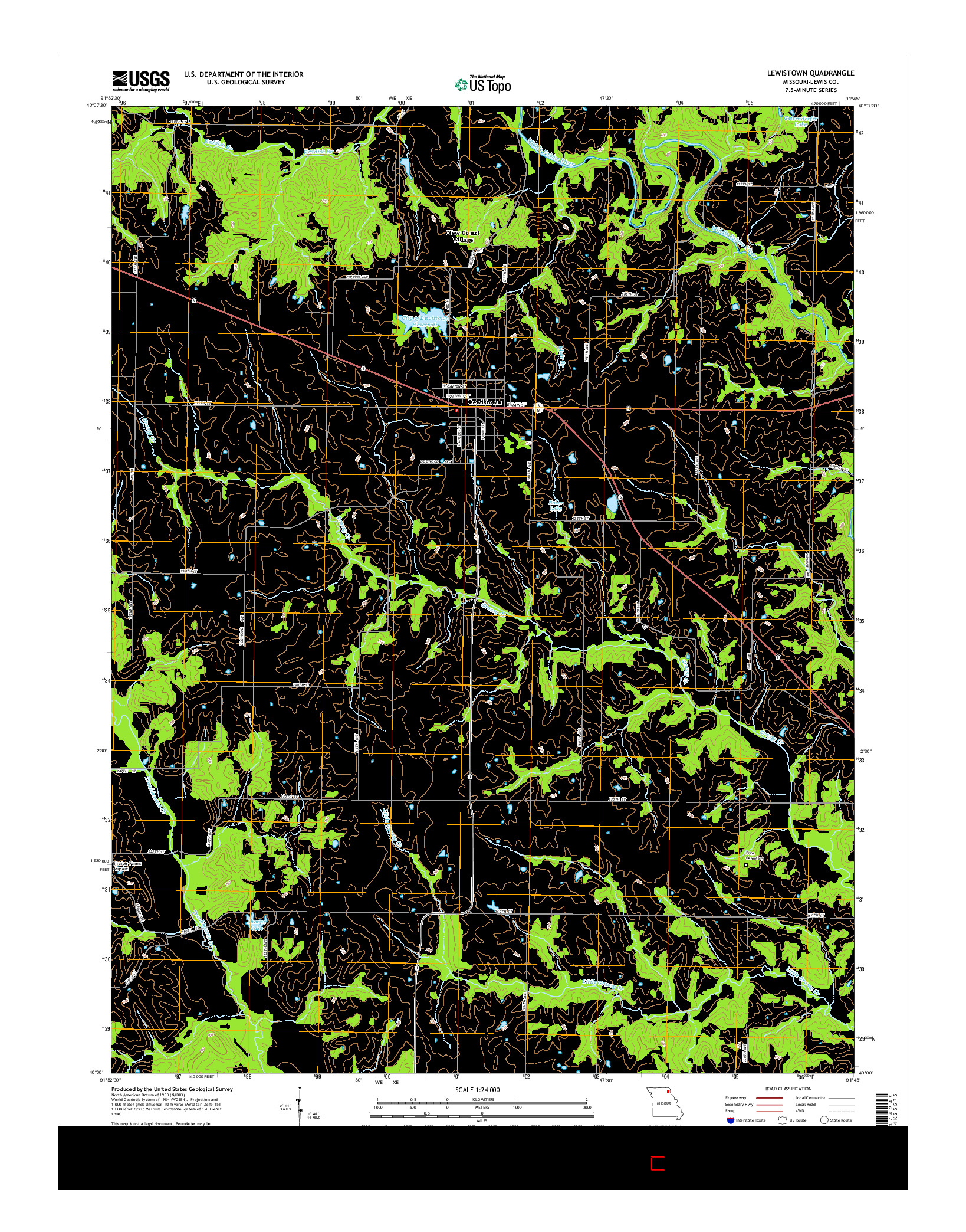 USGS US TOPO 7.5-MINUTE MAP FOR LEWISTOWN, MO 2014