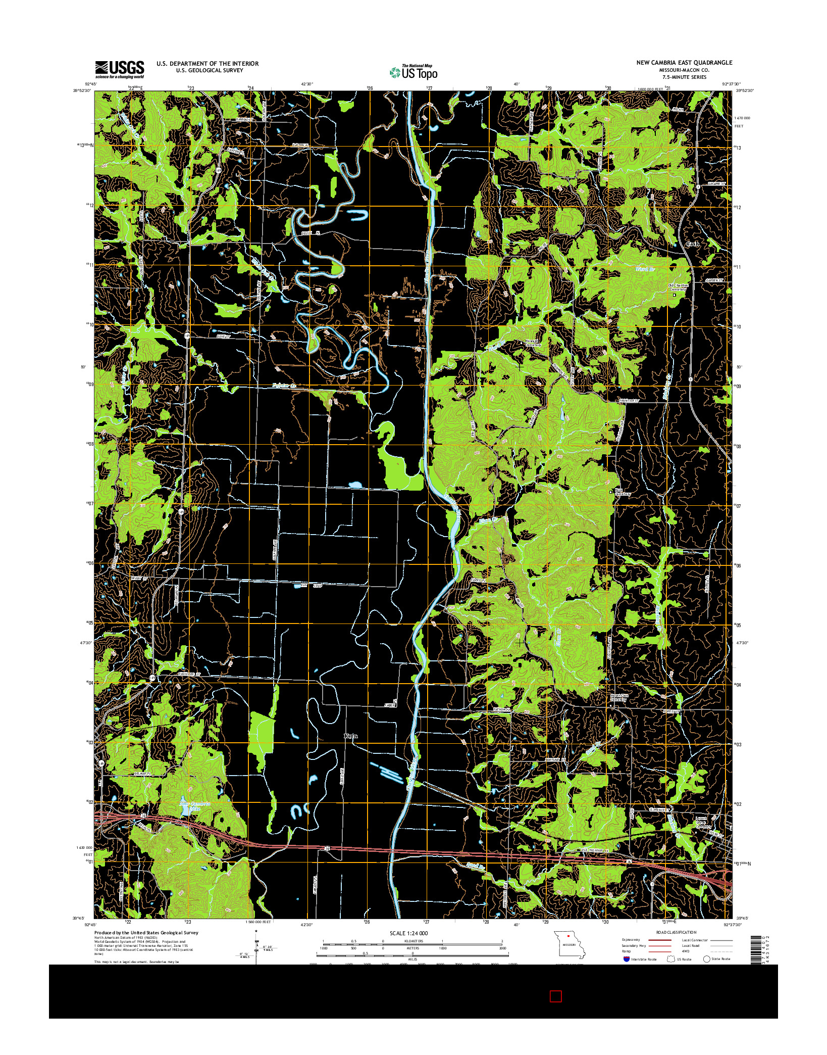 USGS US TOPO 7.5-MINUTE MAP FOR NEW CAMBRIA EAST, MO 2014