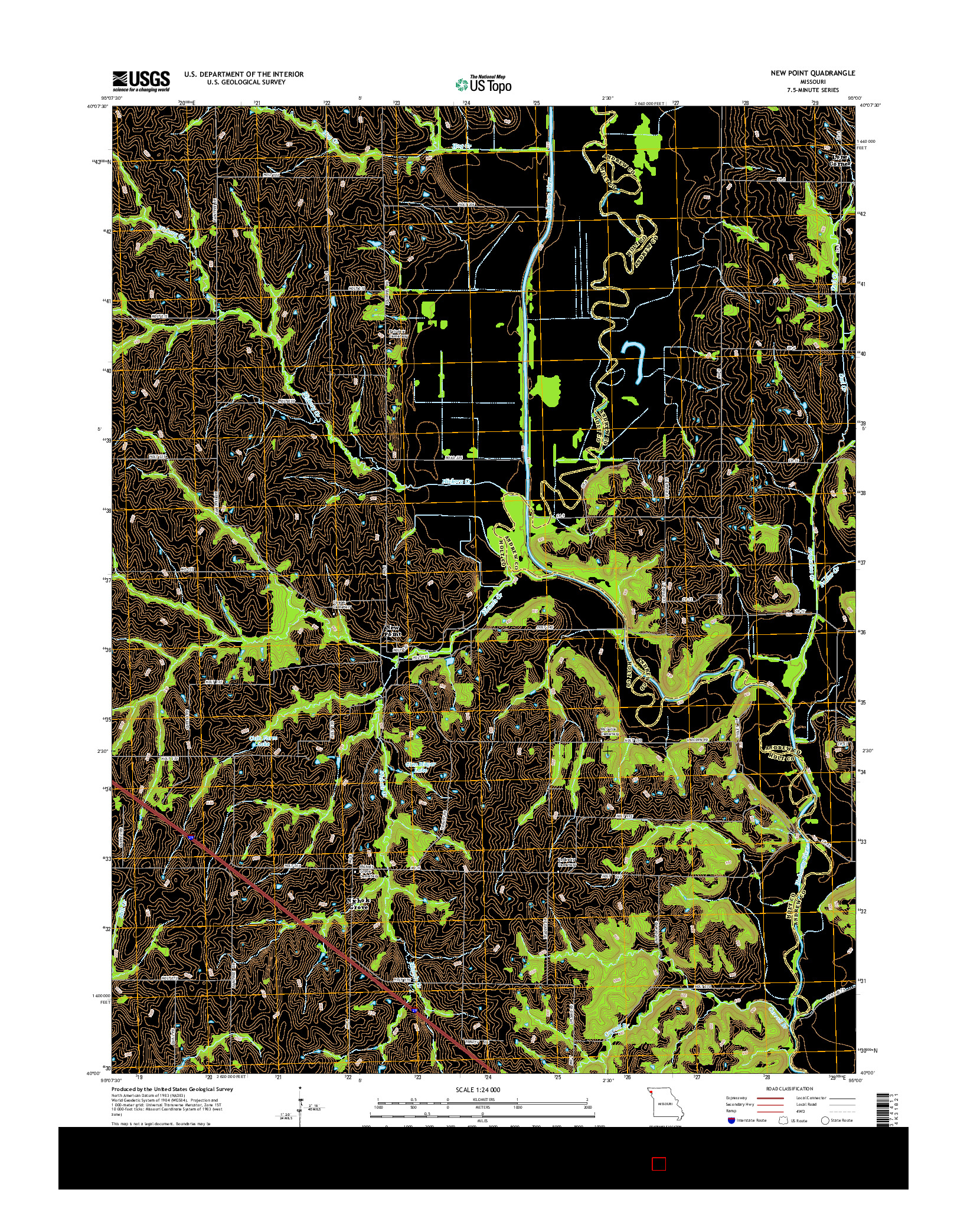 USGS US TOPO 7.5-MINUTE MAP FOR NEW POINT, MO 2014