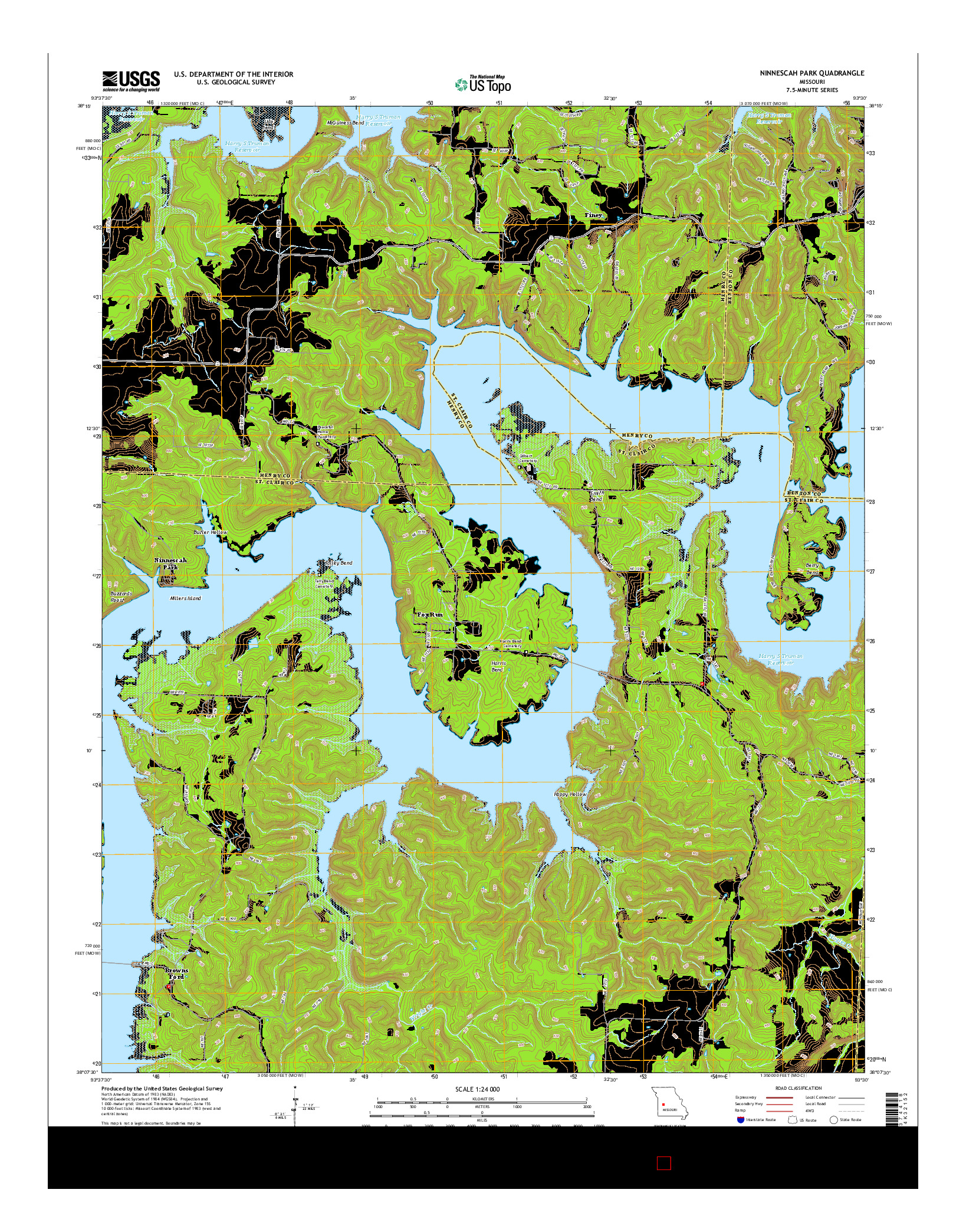 USGS US TOPO 7.5-MINUTE MAP FOR NINNESCAH PARK, MO 2014