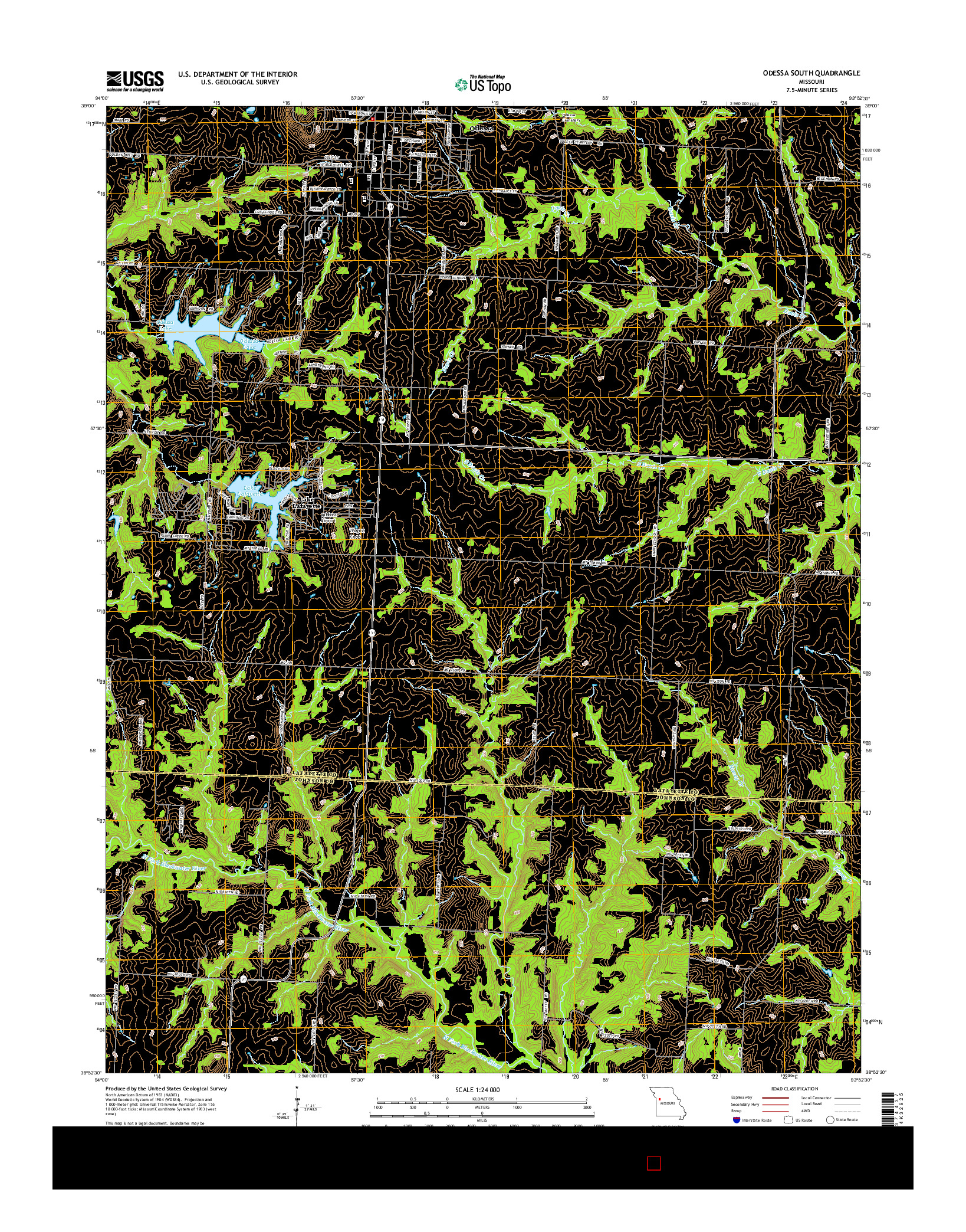 USGS US TOPO 7.5-MINUTE MAP FOR ODESSA SOUTH, MO 2014