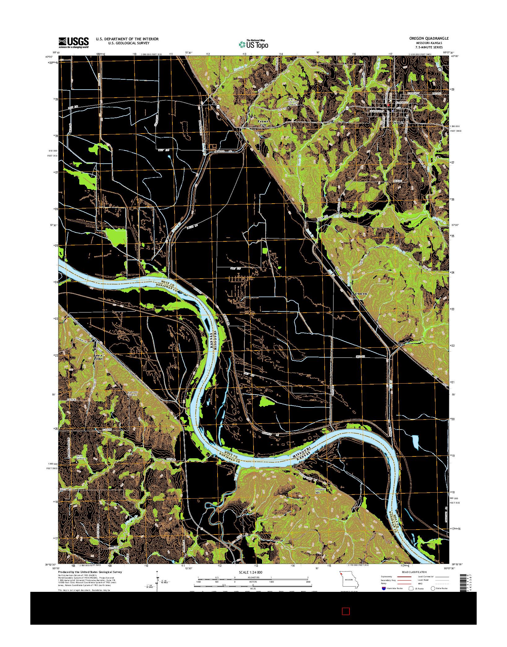 USGS US TOPO 7.5-MINUTE MAP FOR OREGON, MO-KS 2014