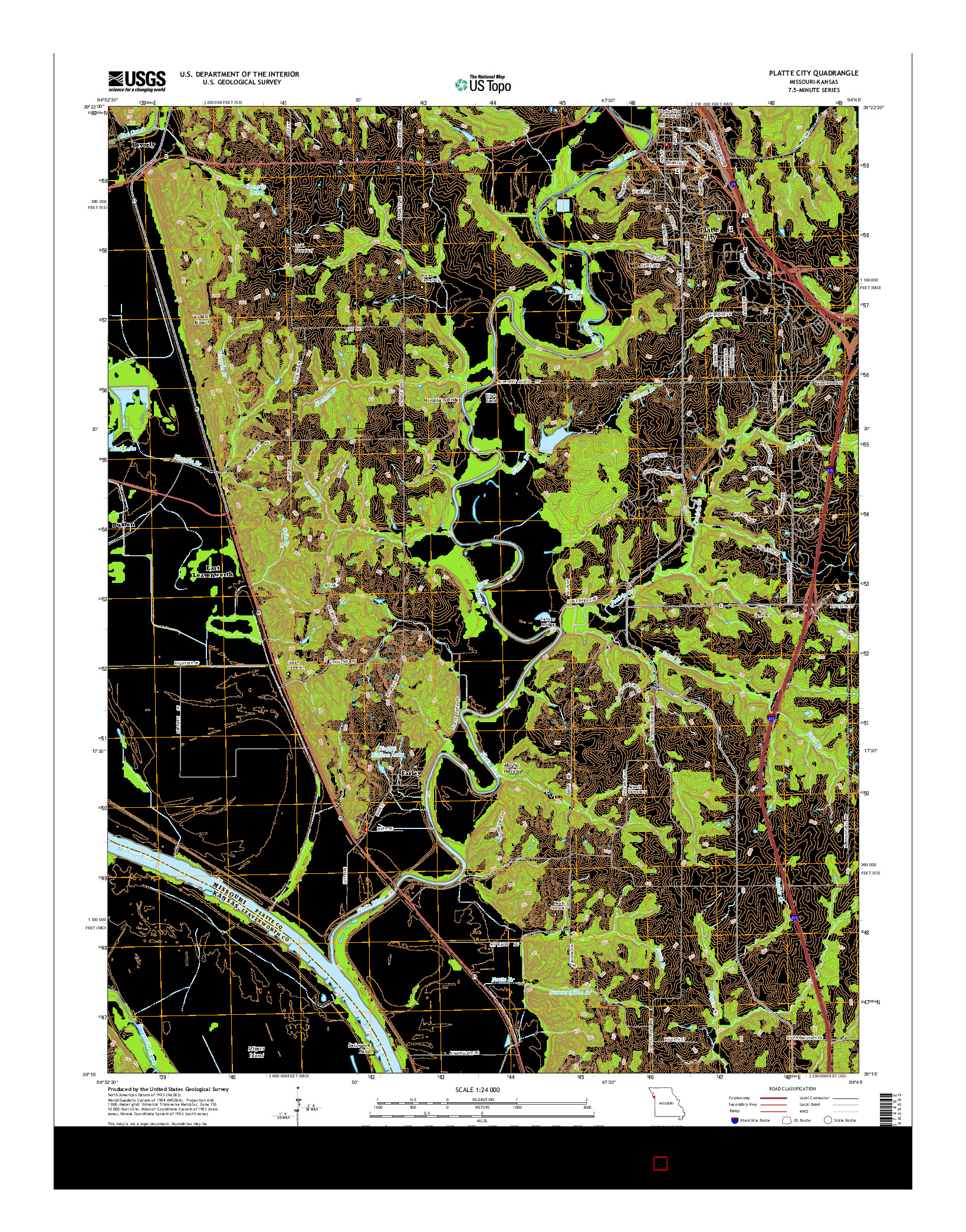 USGS US TOPO 7.5-MINUTE MAP FOR PLATTE CITY, MO-KS 2014