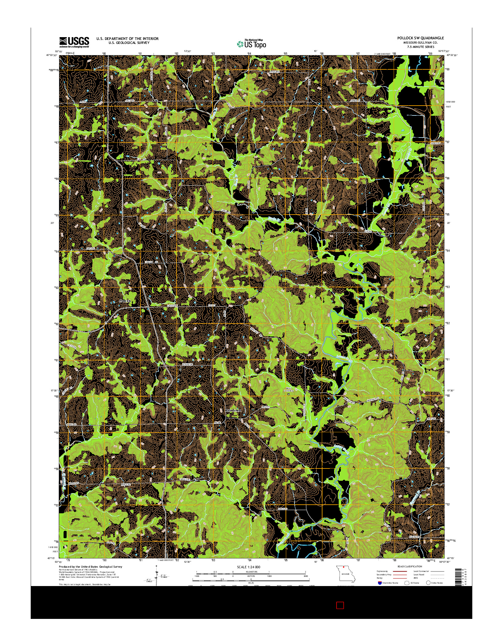 USGS US TOPO 7.5-MINUTE MAP FOR POLLOCK SW, MO 2014