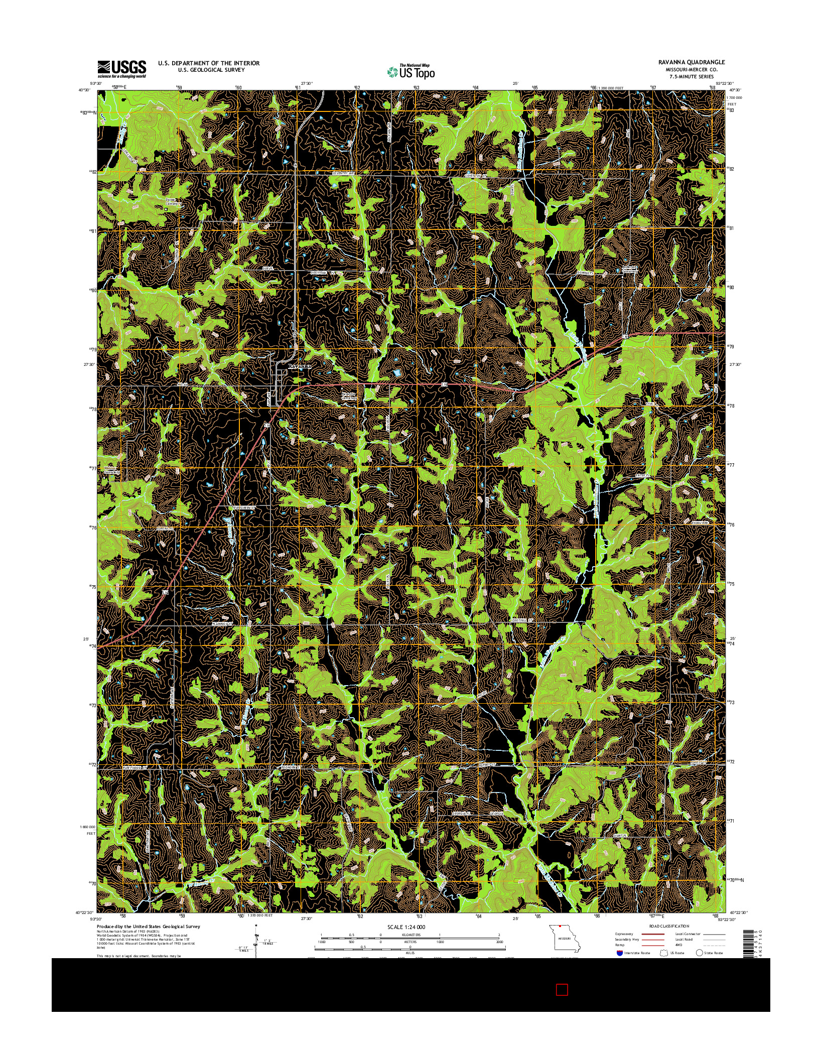 USGS US TOPO 7.5-MINUTE MAP FOR RAVANNA, MO 2014