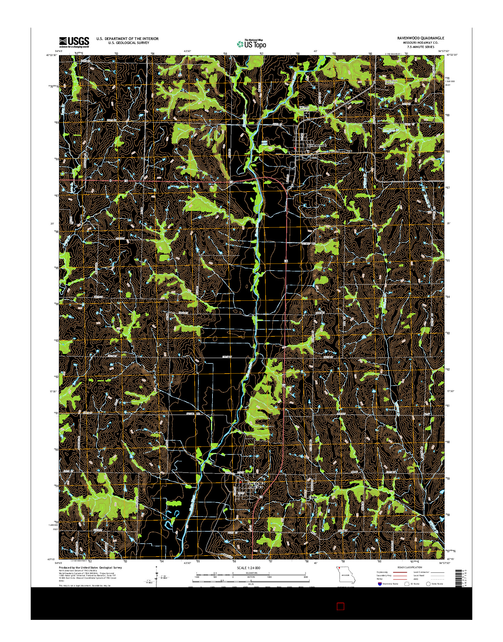 USGS US TOPO 7.5-MINUTE MAP FOR RAVENWOOD, MO 2014