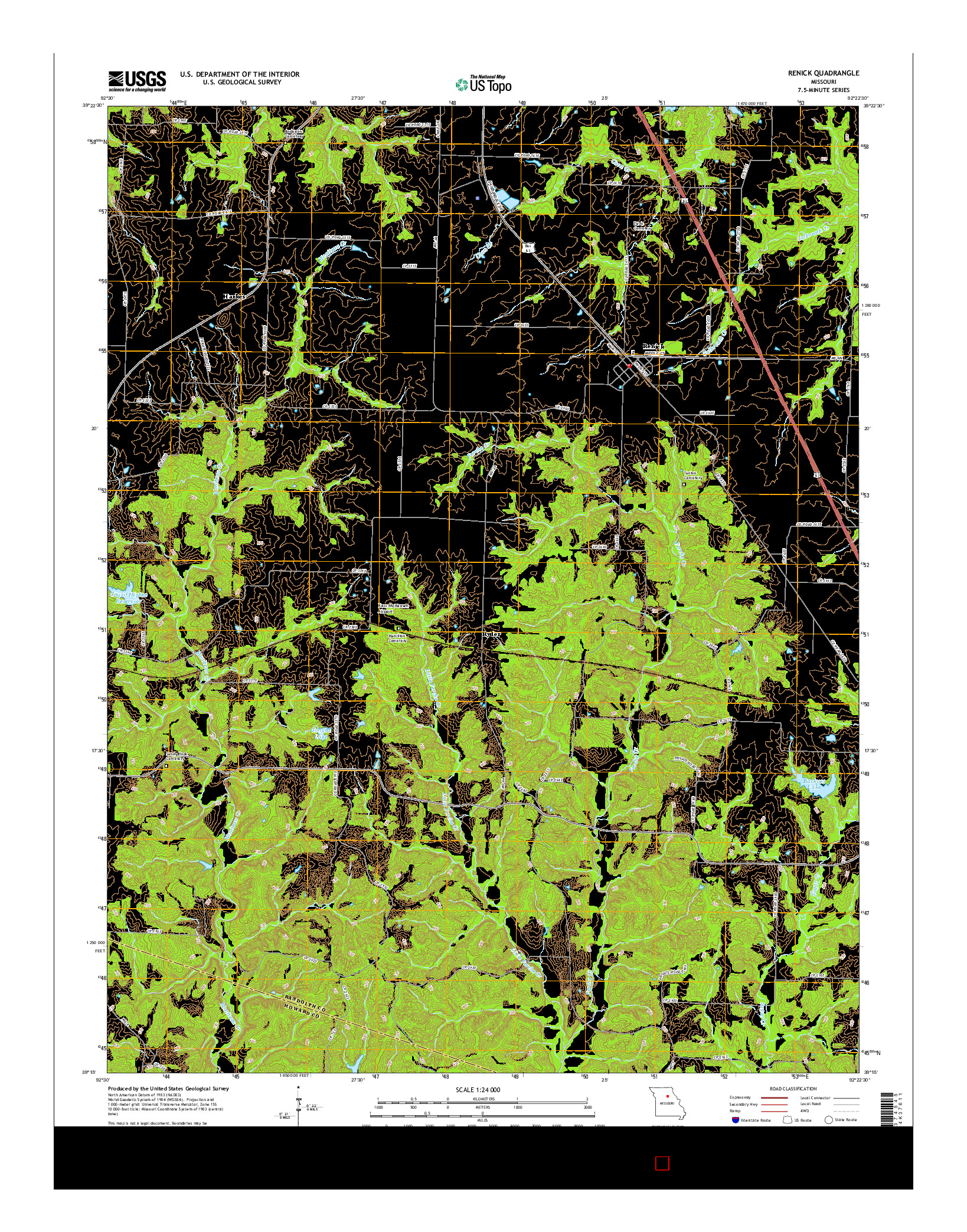 USGS US TOPO 7.5-MINUTE MAP FOR RENICK, MO 2014