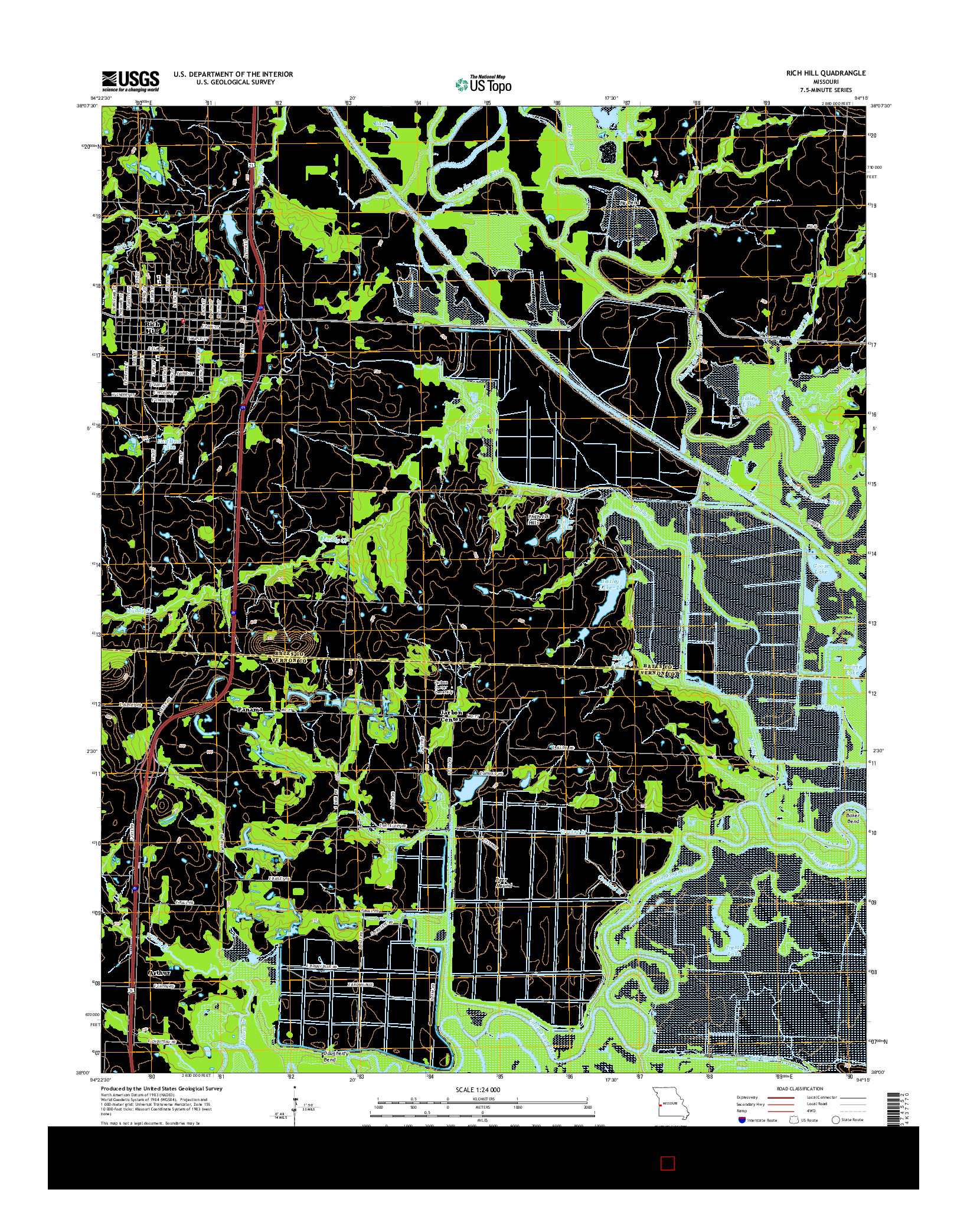 USGS US TOPO 7.5-MINUTE MAP FOR RICH HILL, MO 2014