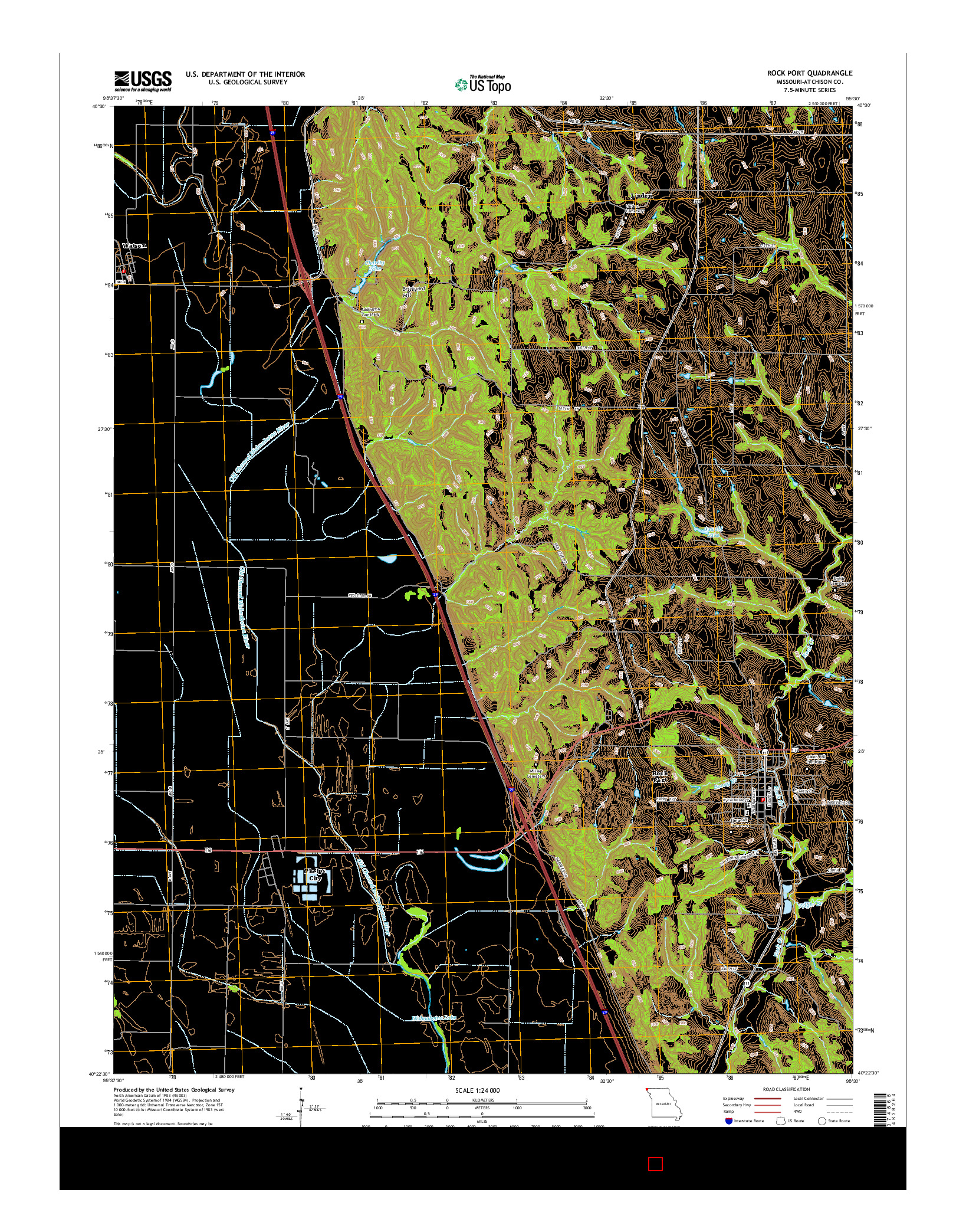 USGS US TOPO 7.5-MINUTE MAP FOR ROCK PORT, MO 2014