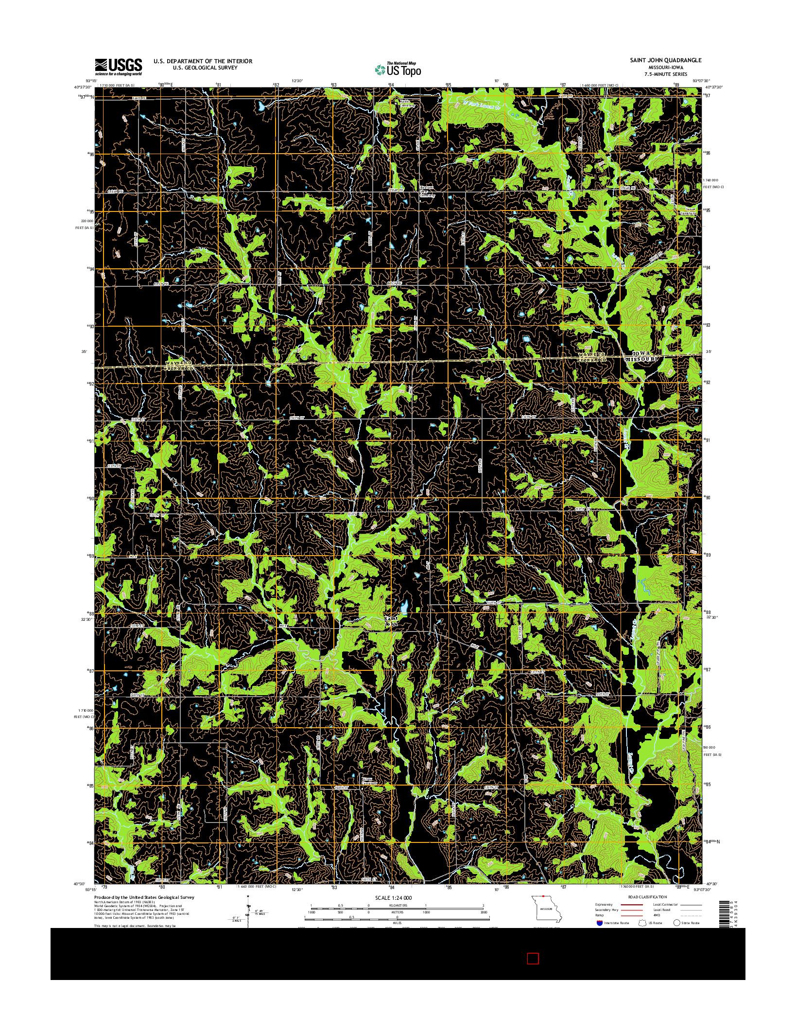 USGS US TOPO 7.5-MINUTE MAP FOR SAINT JOHN, MO-IA 2014