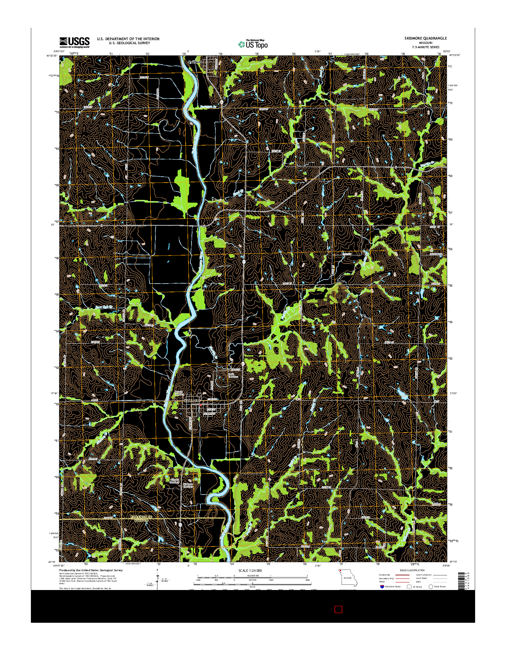 USGS US TOPO 7.5-MINUTE MAP FOR SKIDMORE, MO 2014