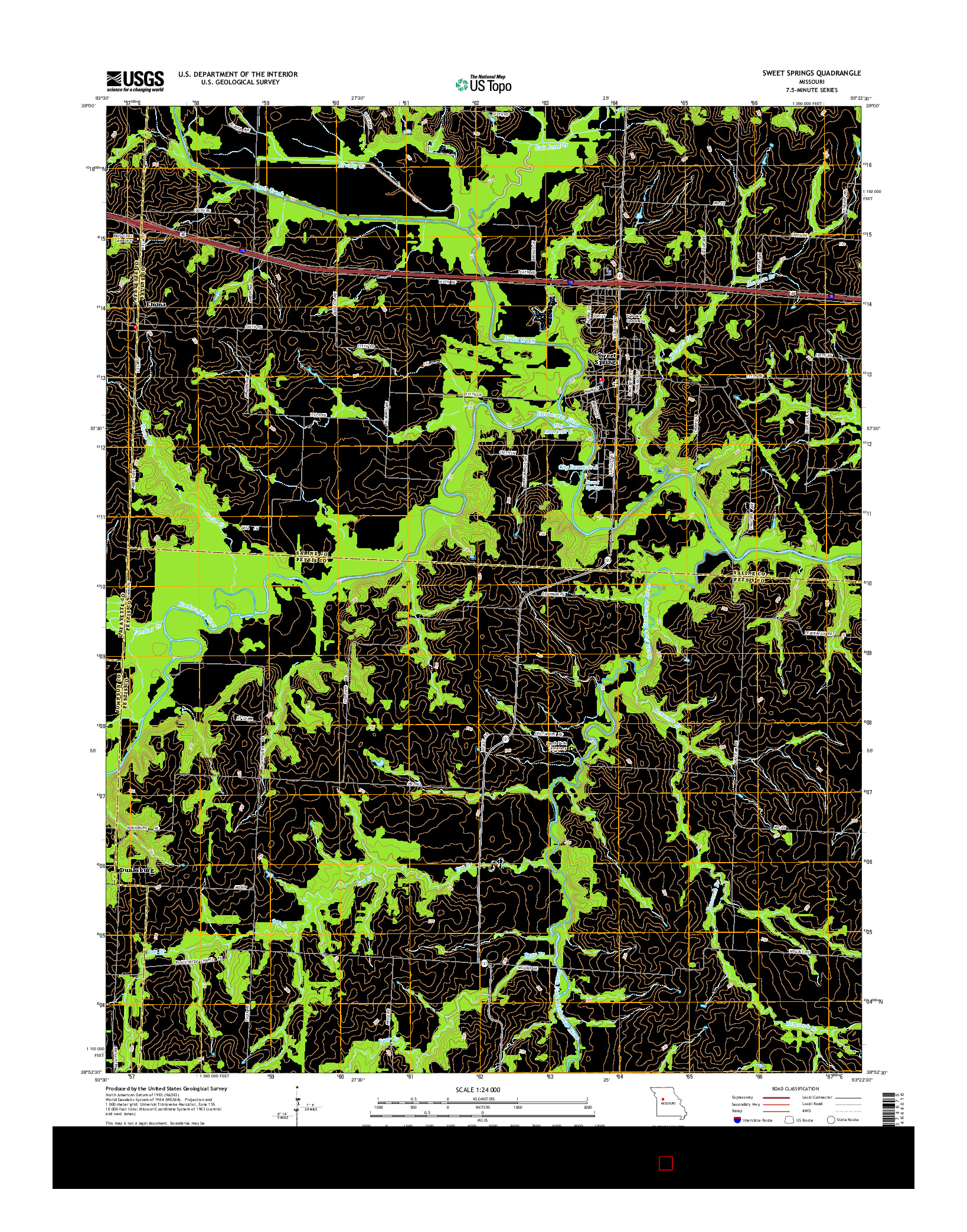 USGS US TOPO 7.5-MINUTE MAP FOR SWEET SPRINGS, MO 2014
