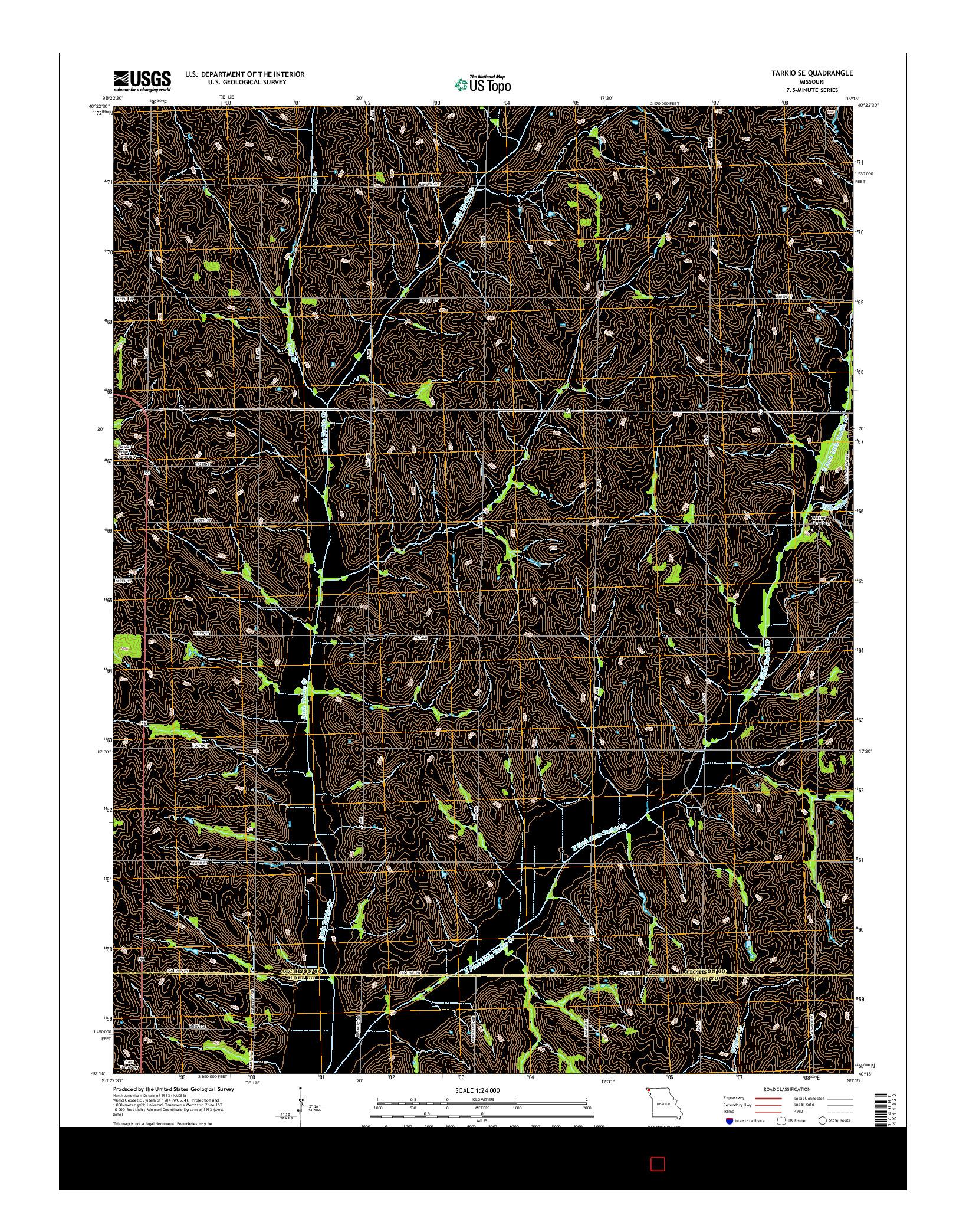 USGS US TOPO 7.5-MINUTE MAP FOR TARKIO SE, MO 2014
