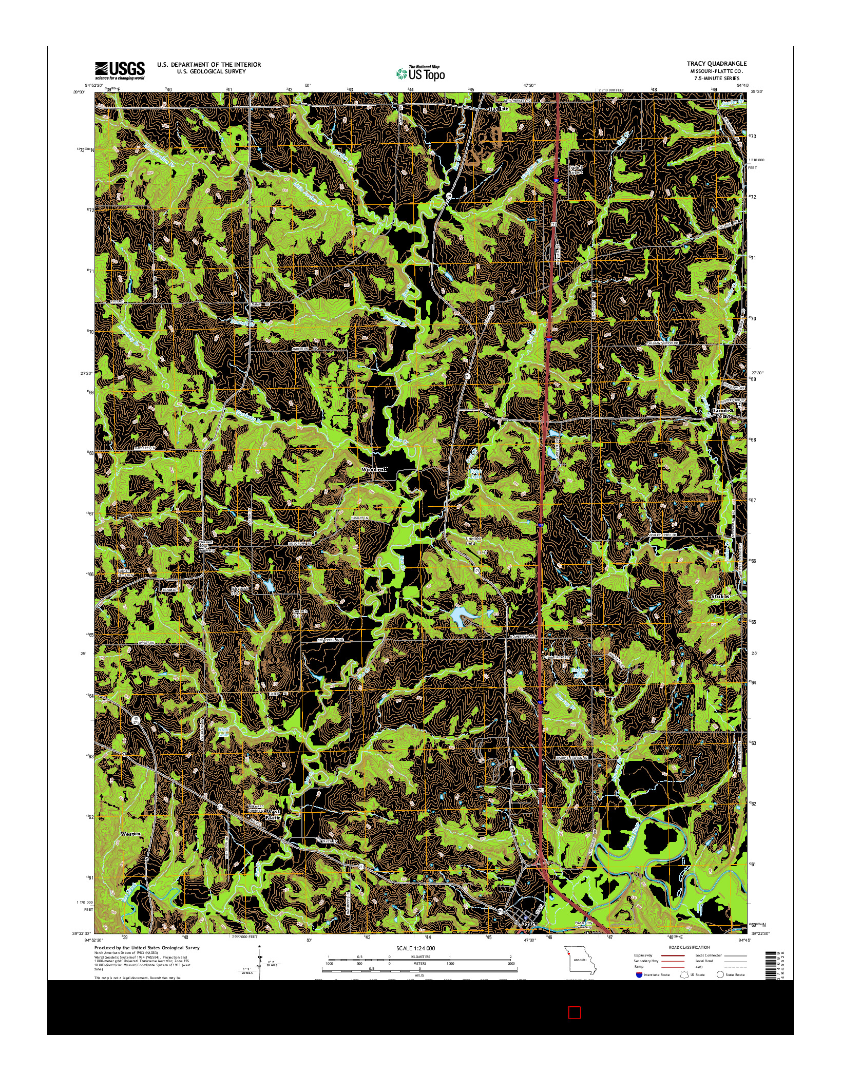 USGS US TOPO 7.5-MINUTE MAP FOR TRACY, MO 2014
