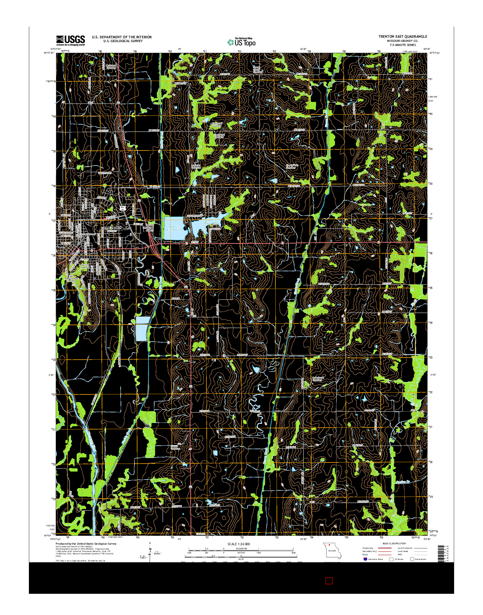 USGS US TOPO 7.5-MINUTE MAP FOR TRENTON EAST, MO 2014