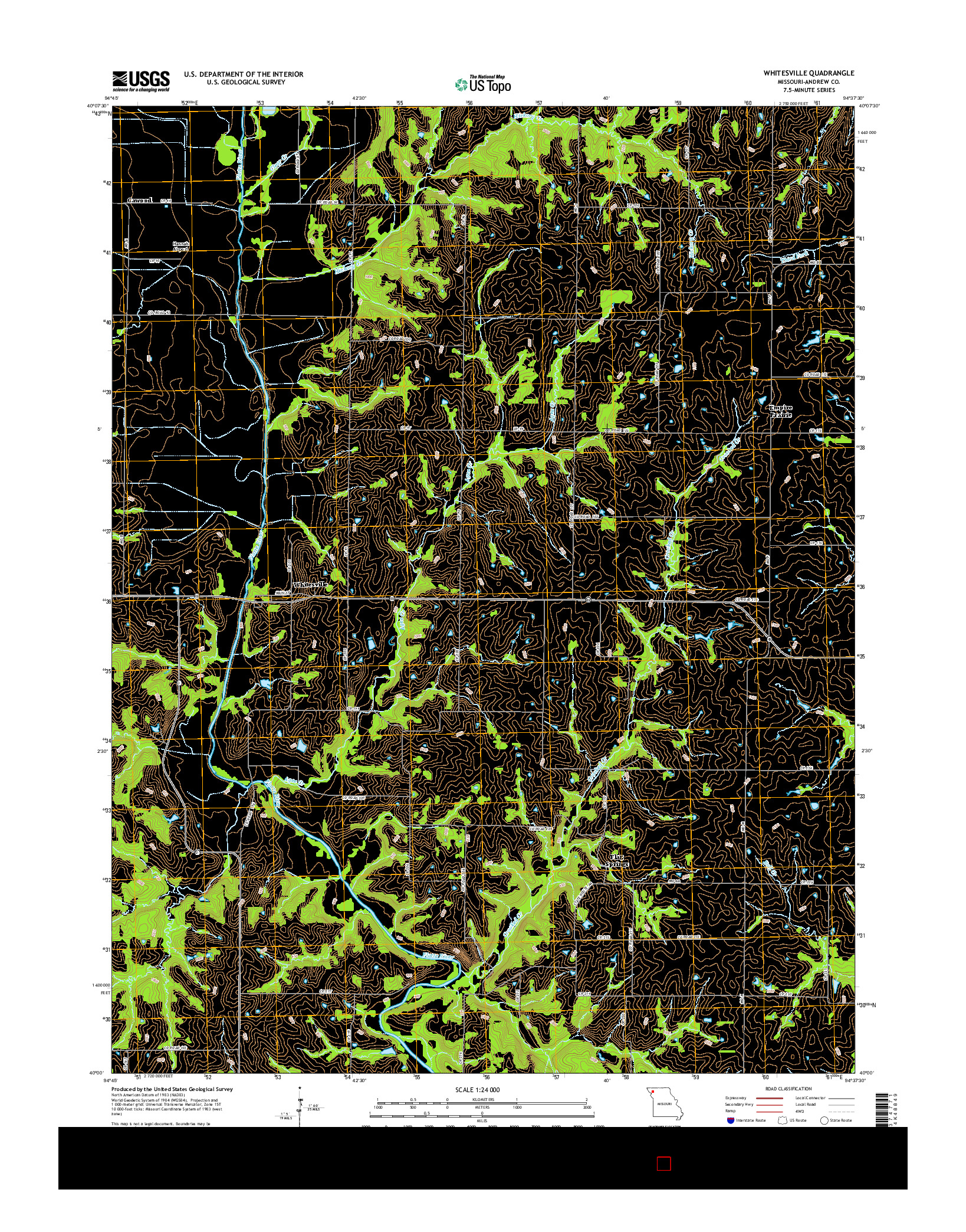 USGS US TOPO 7.5-MINUTE MAP FOR WHITESVILLE, MO 2014