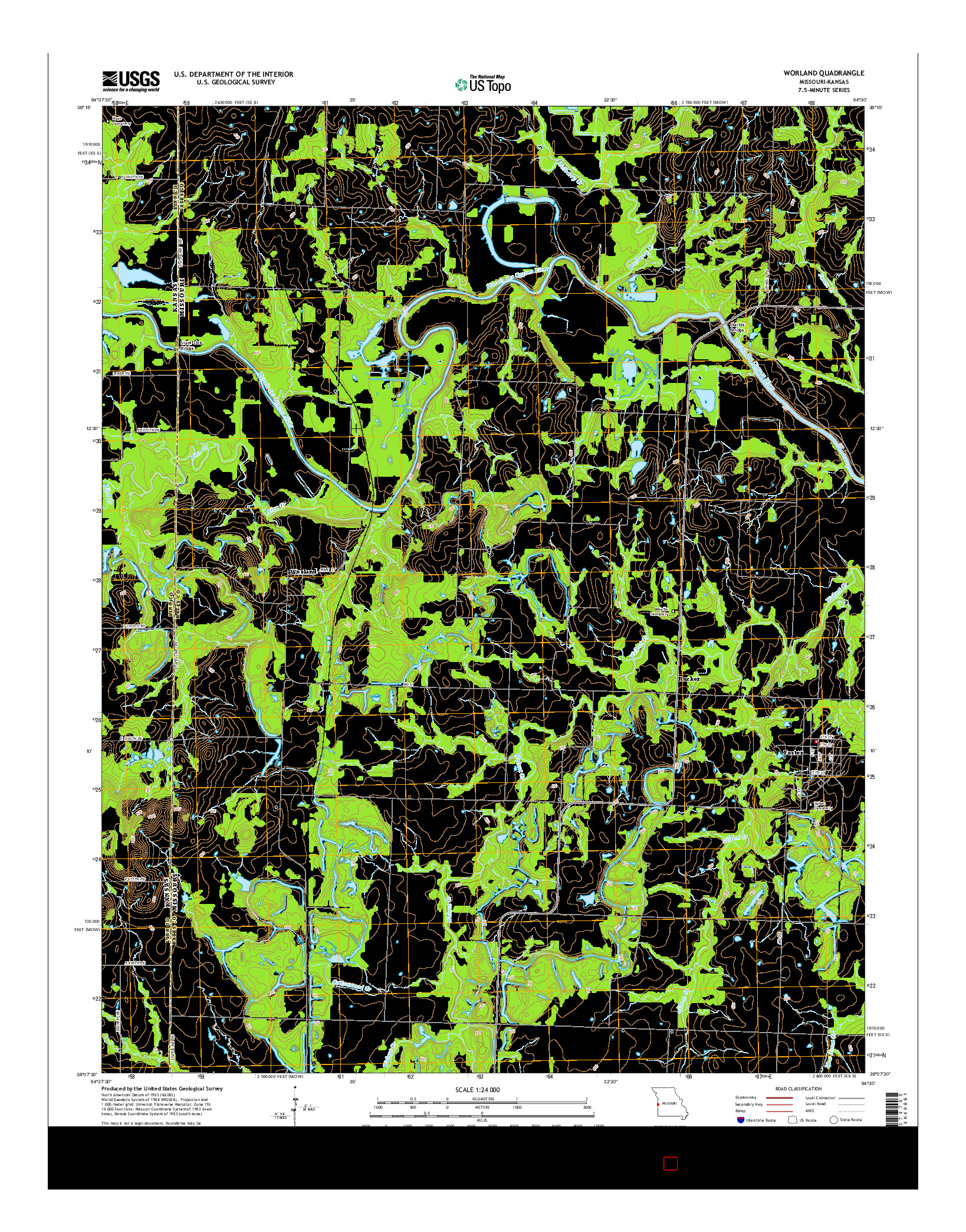USGS US TOPO 7.5-MINUTE MAP FOR WORLAND, MO-KS 2014