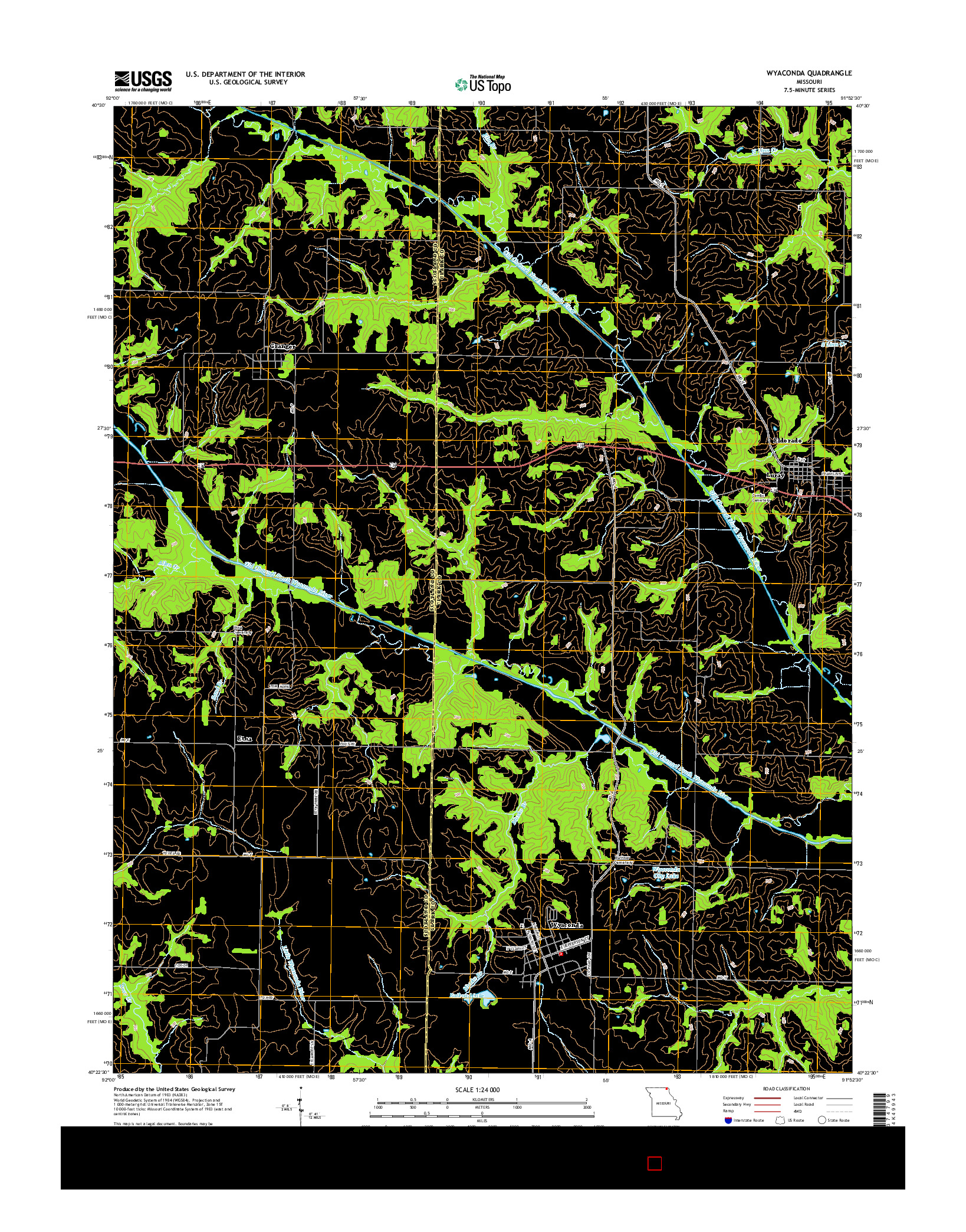 USGS US TOPO 7.5-MINUTE MAP FOR WYACONDA, MO 2014