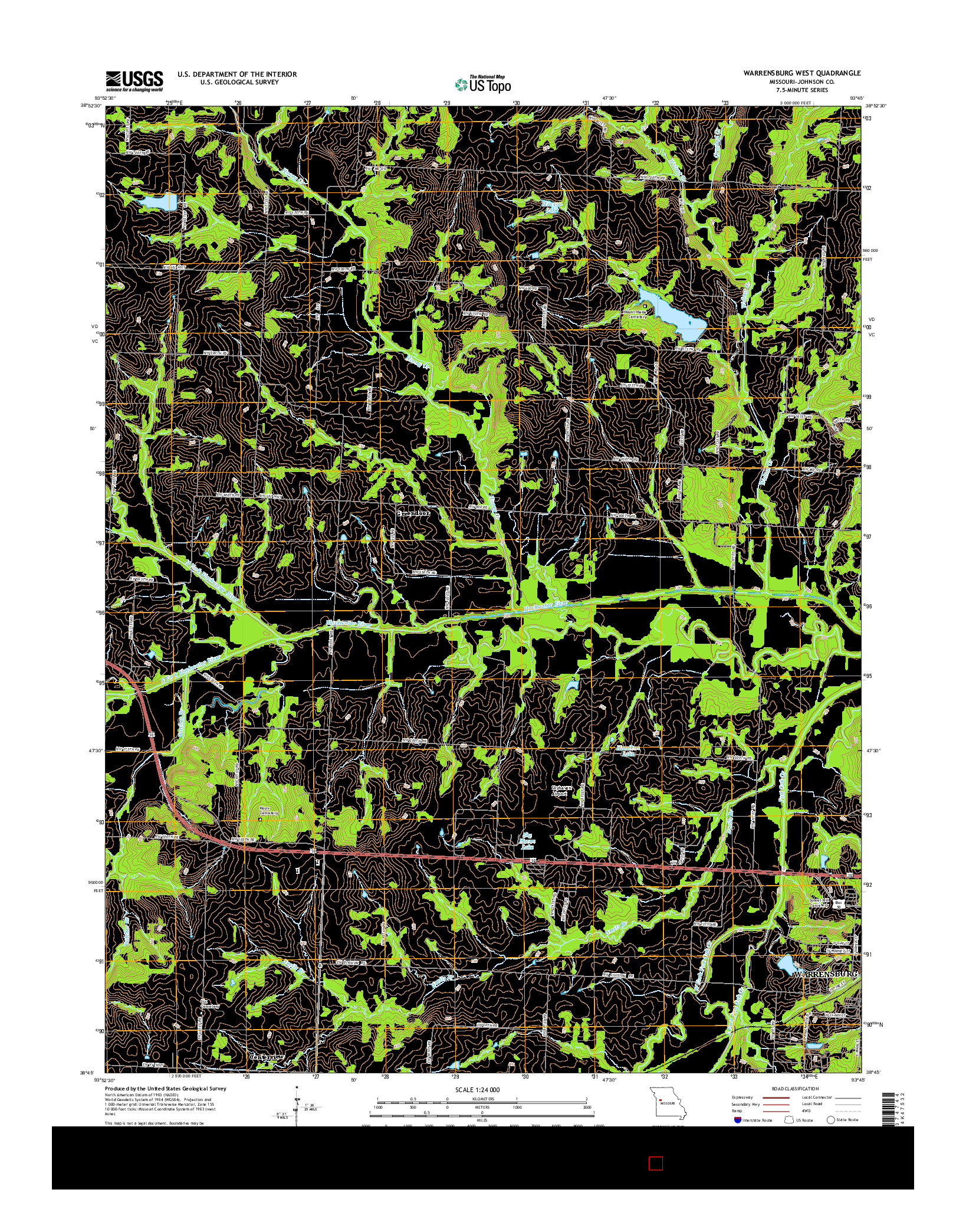 USGS US TOPO 7.5-MINUTE MAP FOR WARRENSBURG WEST, MO 2014