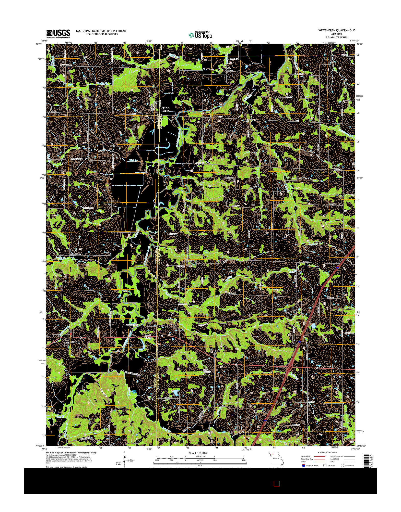 USGS US TOPO 7.5-MINUTE MAP FOR WEATHERBY, MO 2014
