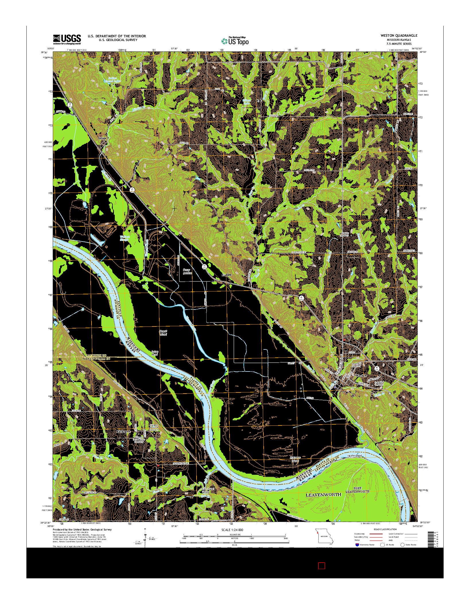 USGS US TOPO 7.5-MINUTE MAP FOR WESTON, MO-KS 2014