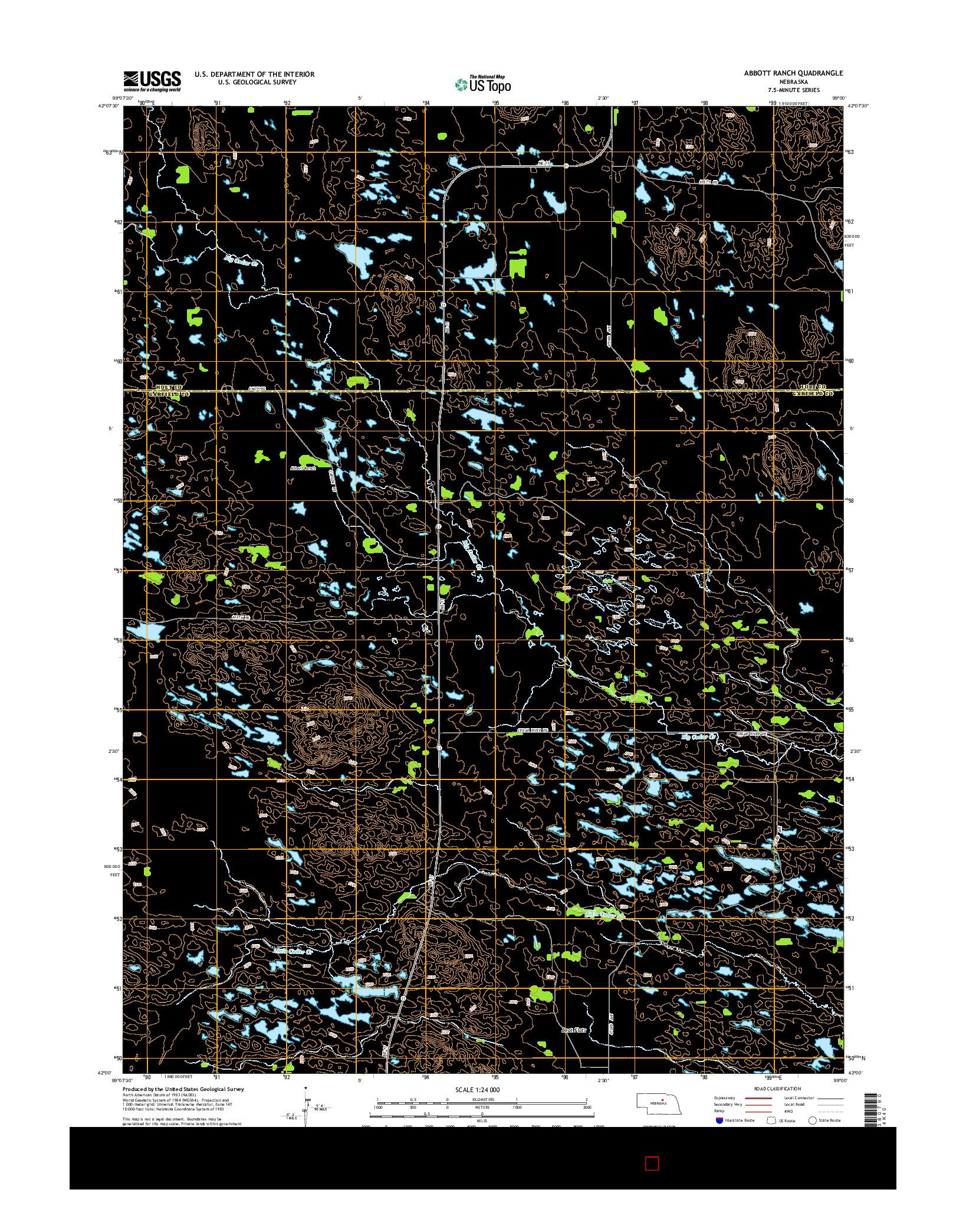 USGS US TOPO 7.5-MINUTE MAP FOR ABBOTT RANCH, NE 2014