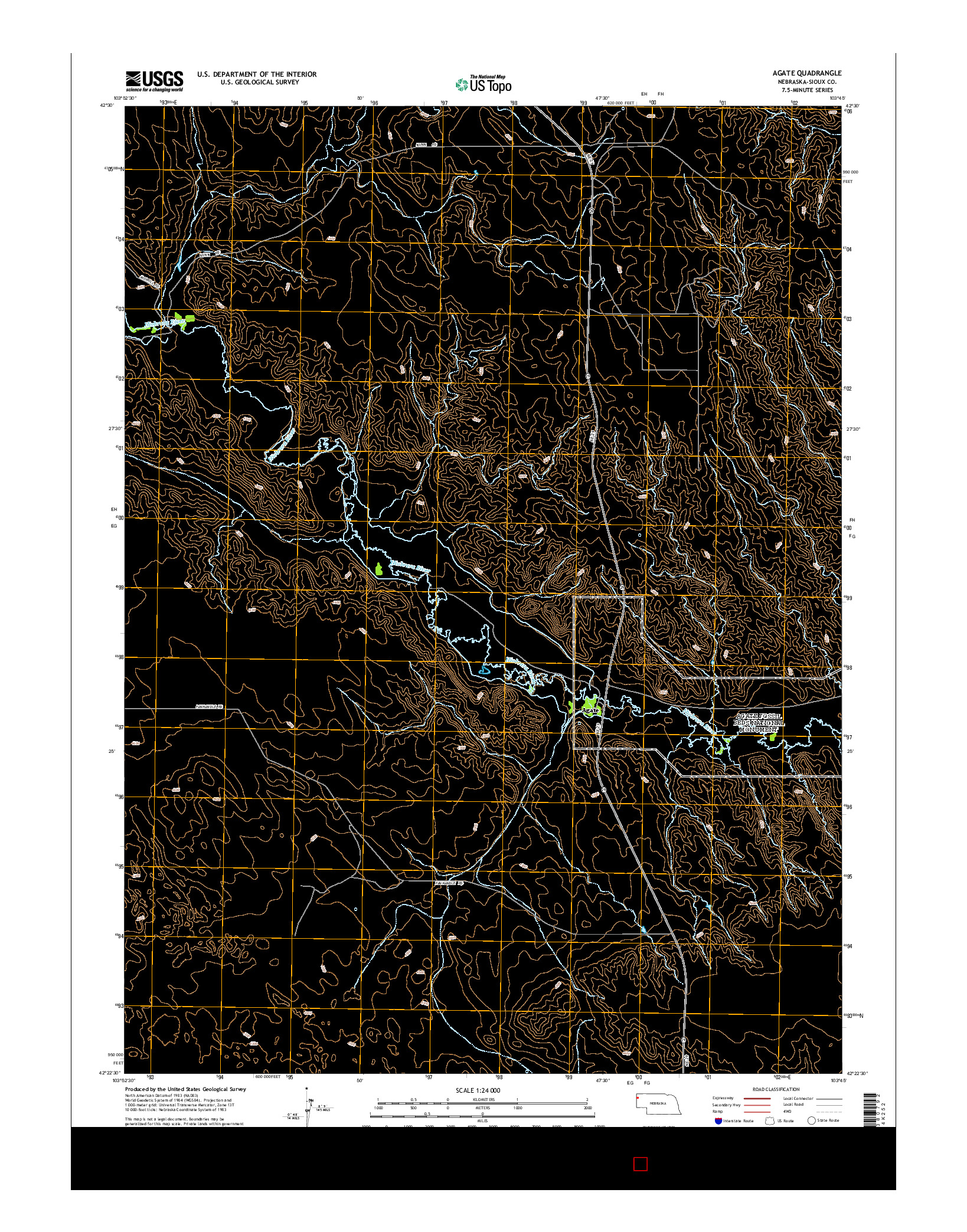 USGS US TOPO 7.5-MINUTE MAP FOR AGATE, NE 2014