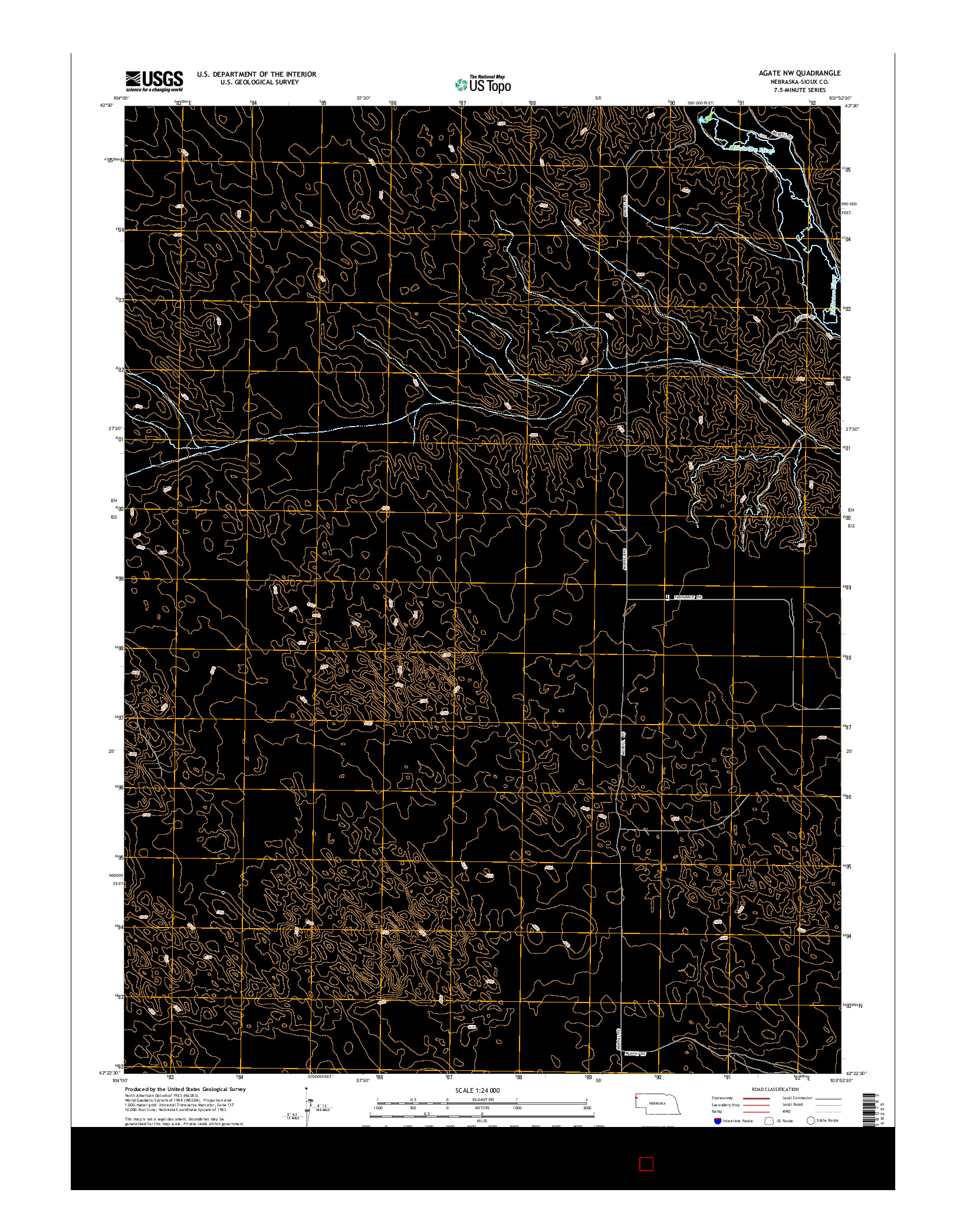 USGS US TOPO 7.5-MINUTE MAP FOR AGATE NW, NE 2014