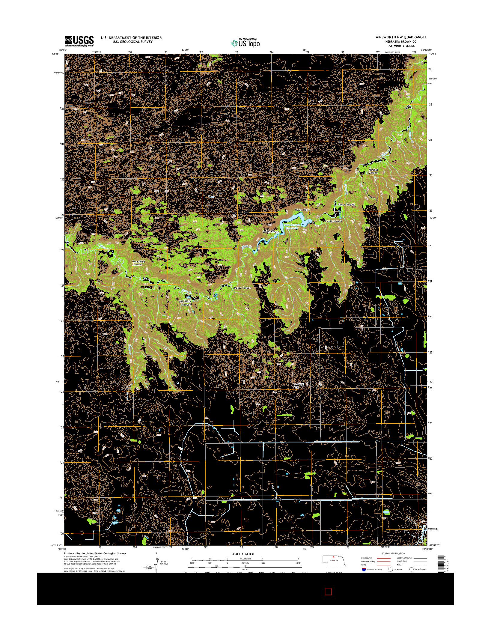 USGS US TOPO 7.5-MINUTE MAP FOR AINSWORTH NW, NE 2014