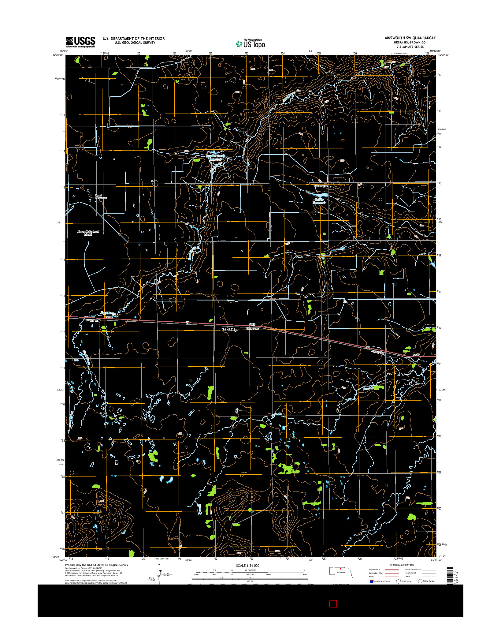 USGS US TOPO 7.5-MINUTE MAP FOR AINSWORTH SW, NE 2014