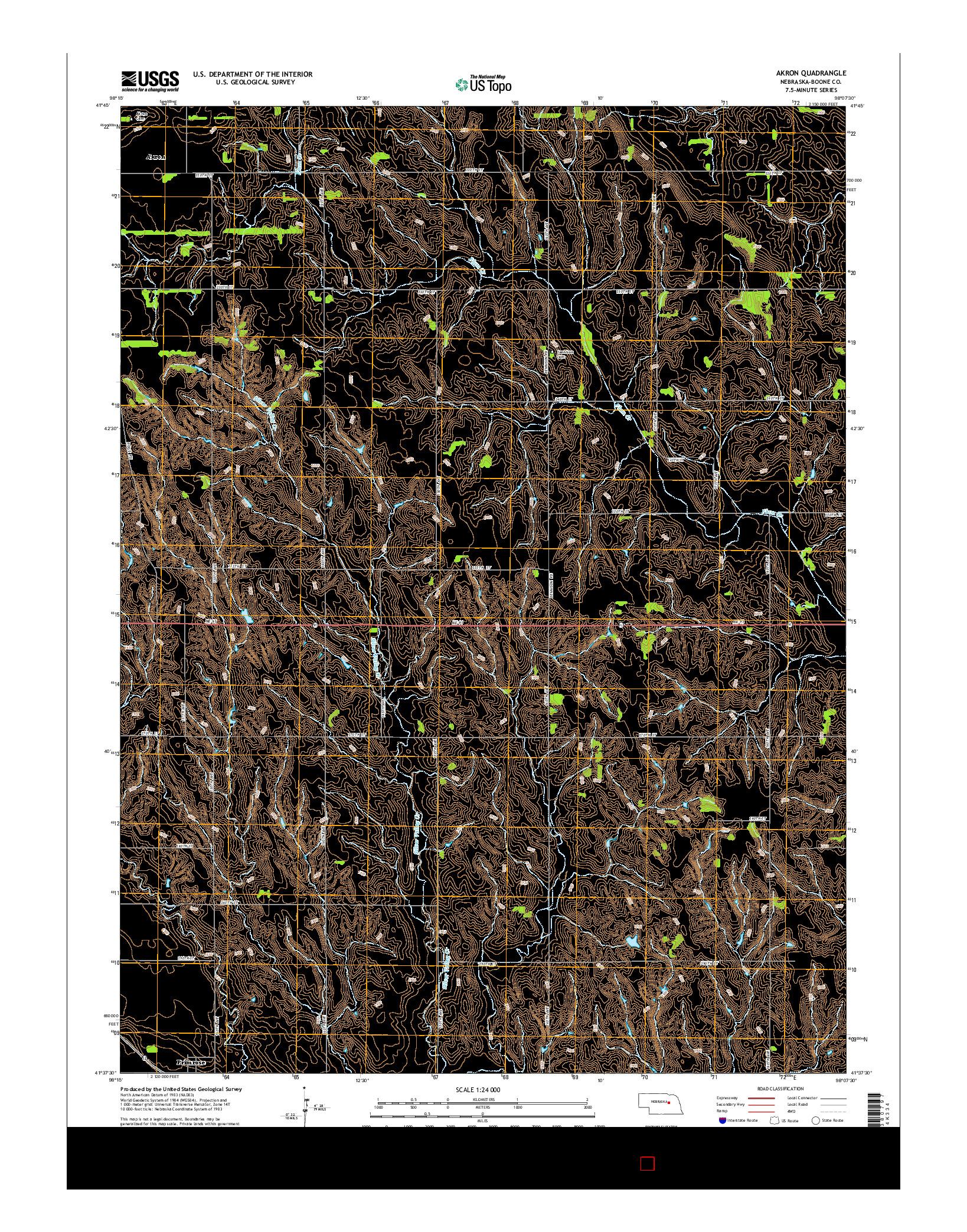 USGS US TOPO 7.5-MINUTE MAP FOR AKRON, NE 2014