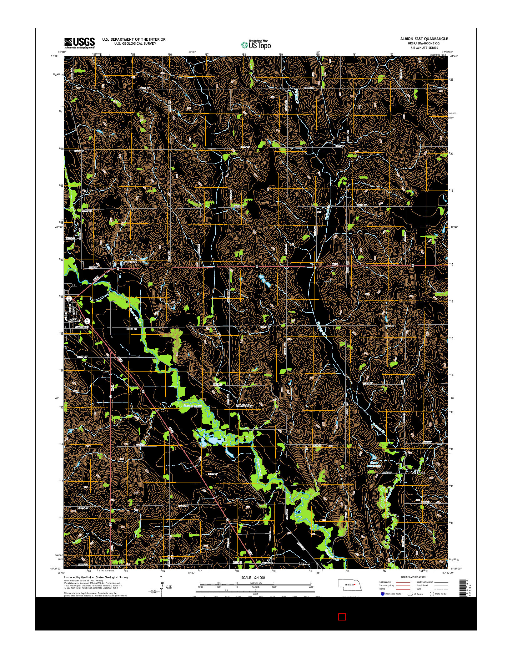 USGS US TOPO 7.5-MINUTE MAP FOR ALBION EAST, NE 2014