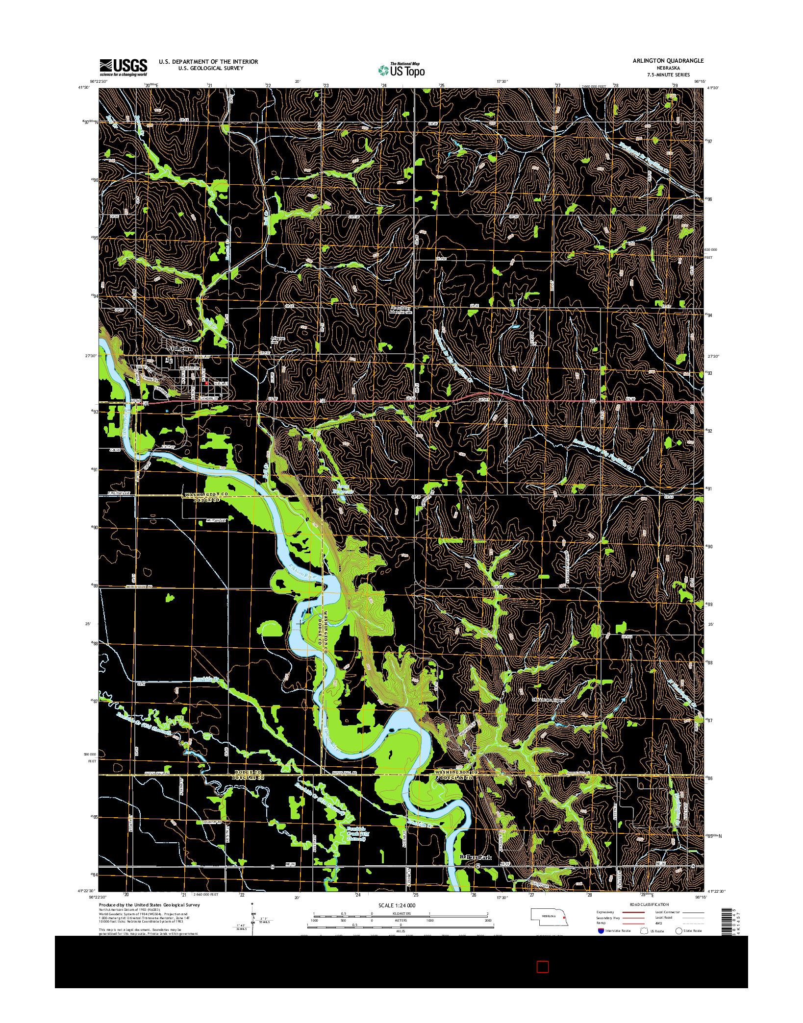 USGS US TOPO 7.5-MINUTE MAP FOR ARLINGTON, NE 2014