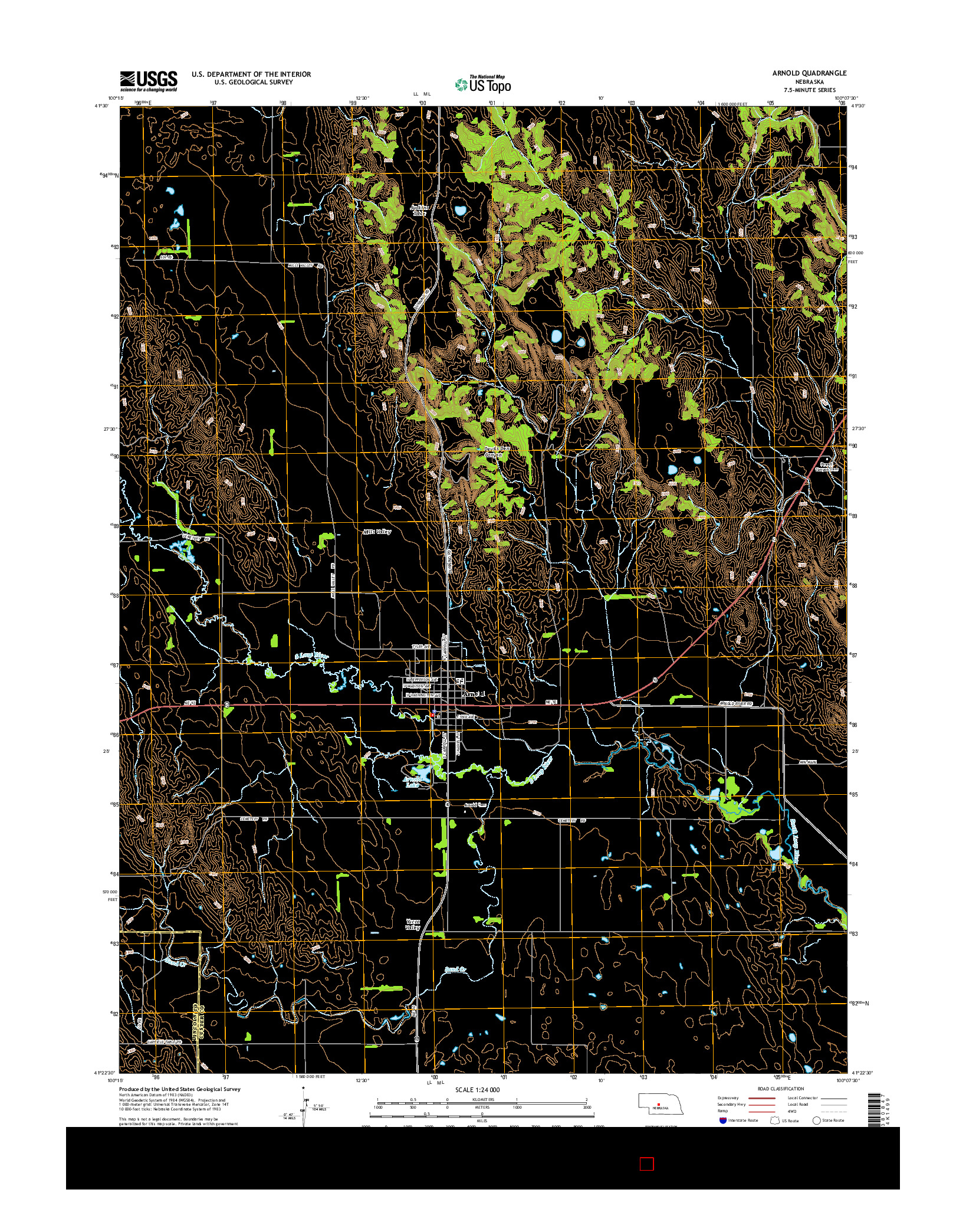 USGS US TOPO 7.5-MINUTE MAP FOR ARNOLD, NE 2014