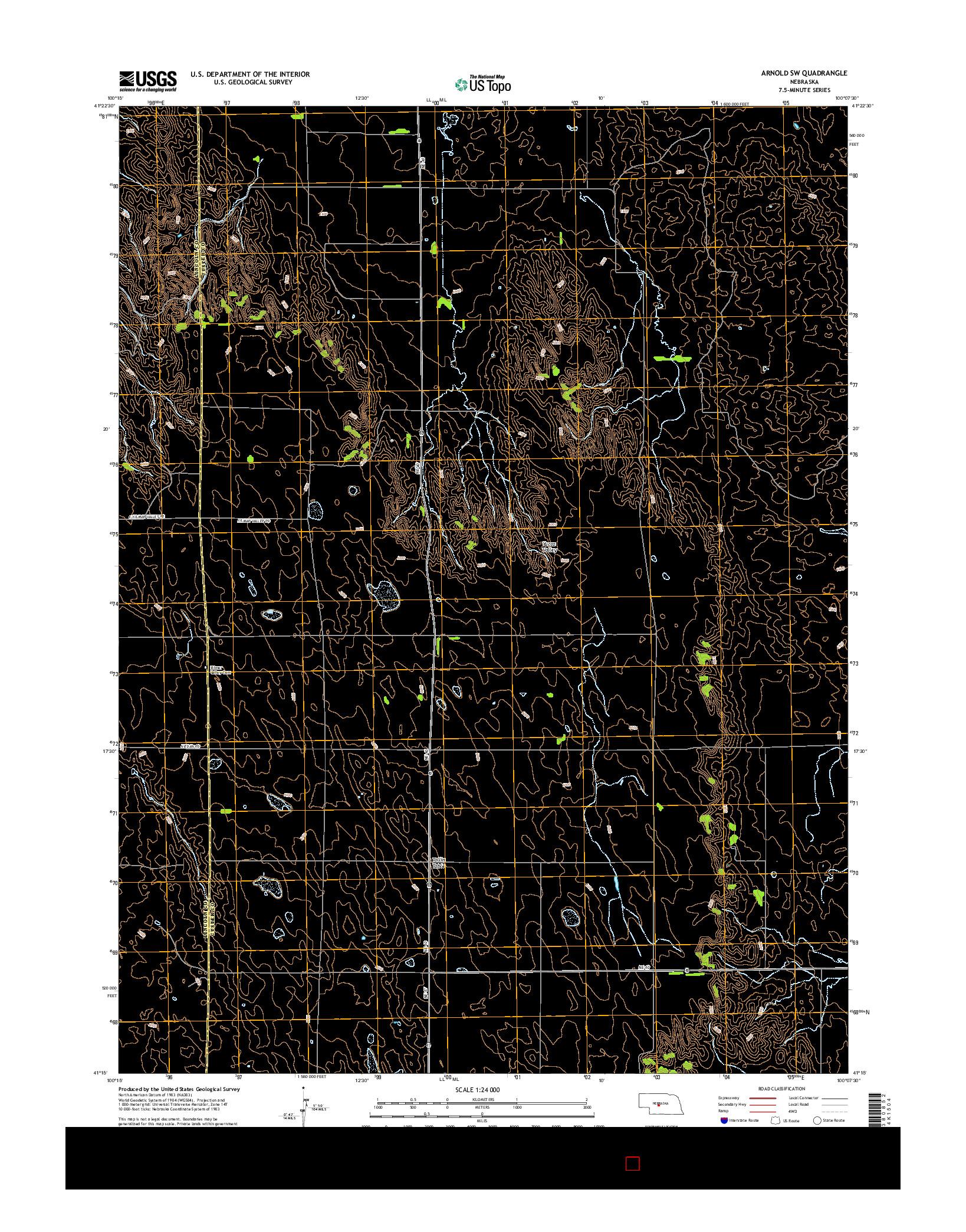 USGS US TOPO 7.5-MINUTE MAP FOR ARNOLD SW, NE 2014