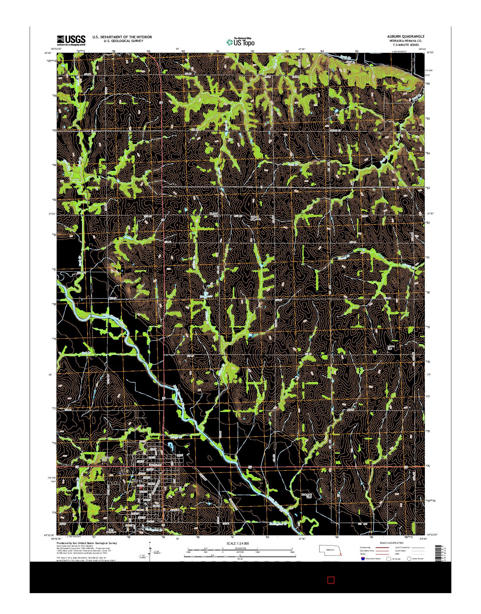 USGS US TOPO 7.5-MINUTE MAP FOR AUBURN, NE 2014