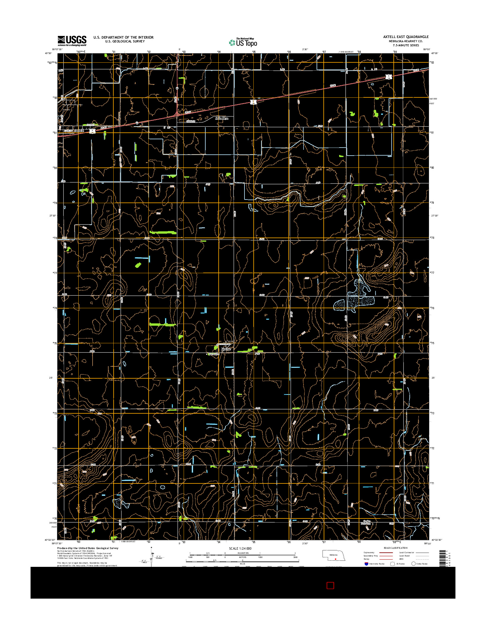 USGS US TOPO 7.5-MINUTE MAP FOR AXTELL EAST, NE 2014