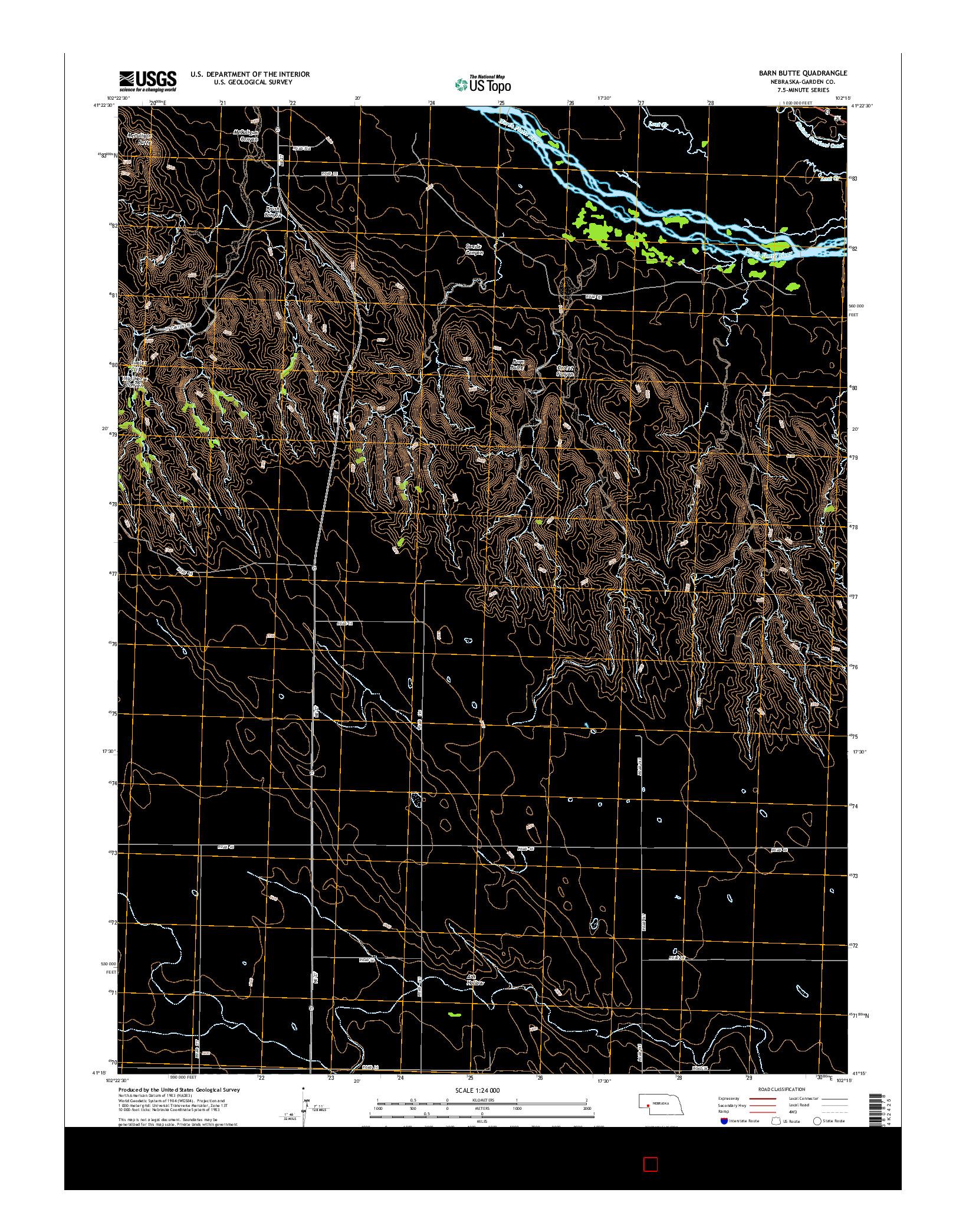 USGS US TOPO 7.5-MINUTE MAP FOR BARN BUTTE, NE 2014