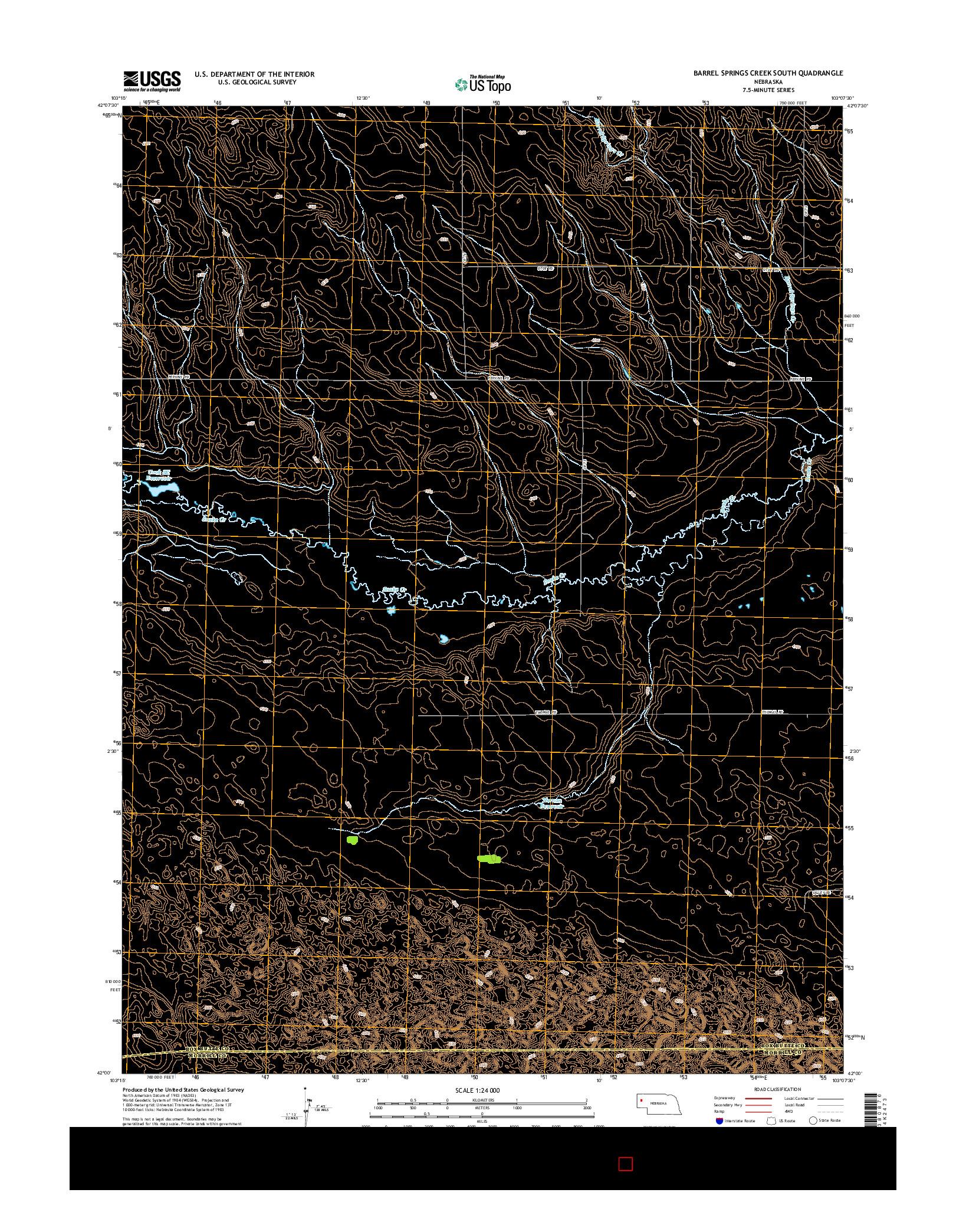 USGS US TOPO 7.5-MINUTE MAP FOR BARREL SPRINGS CREEK SOUTH, NE 2014