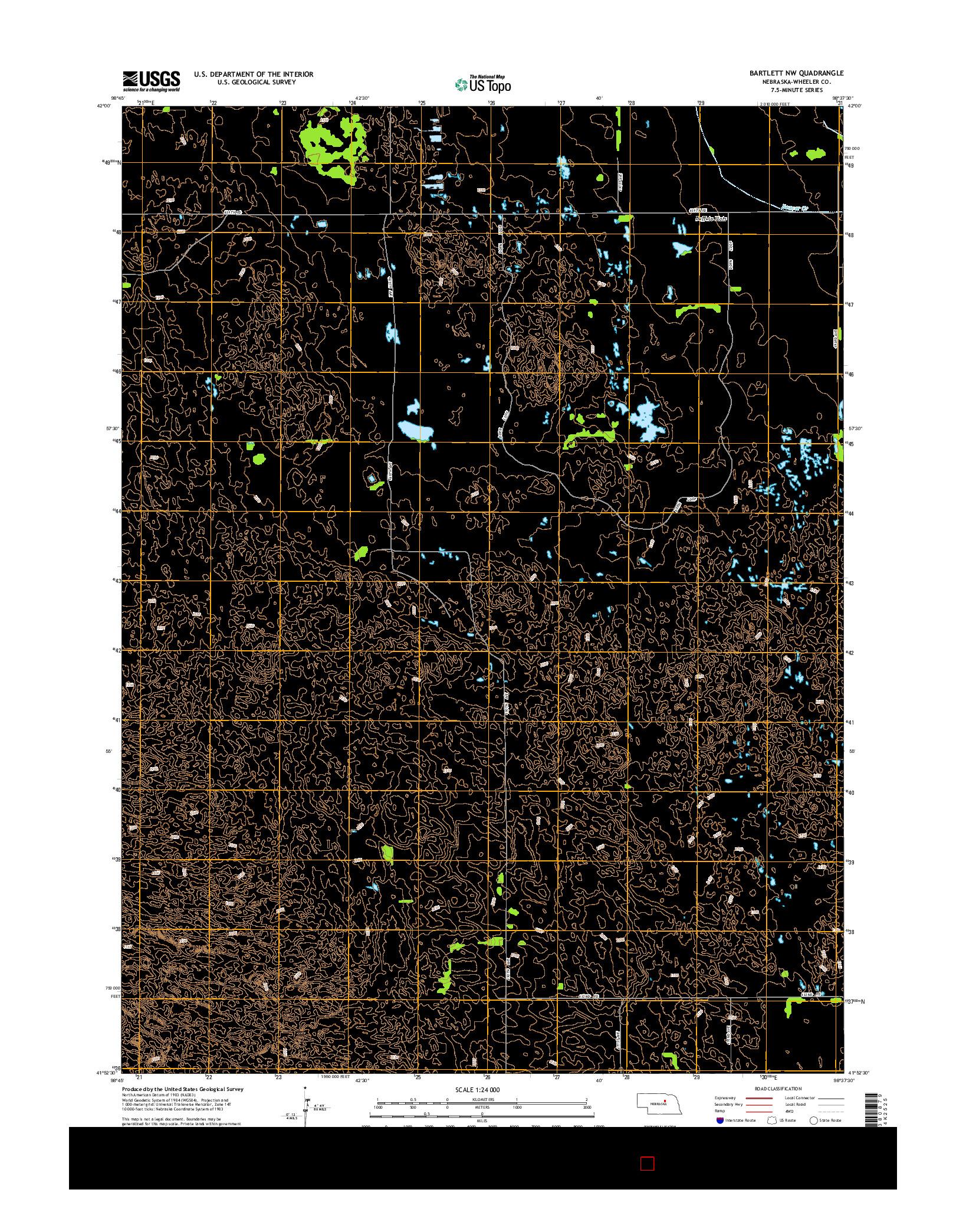 USGS US TOPO 7.5-MINUTE MAP FOR BARTLETT NW, NE 2014