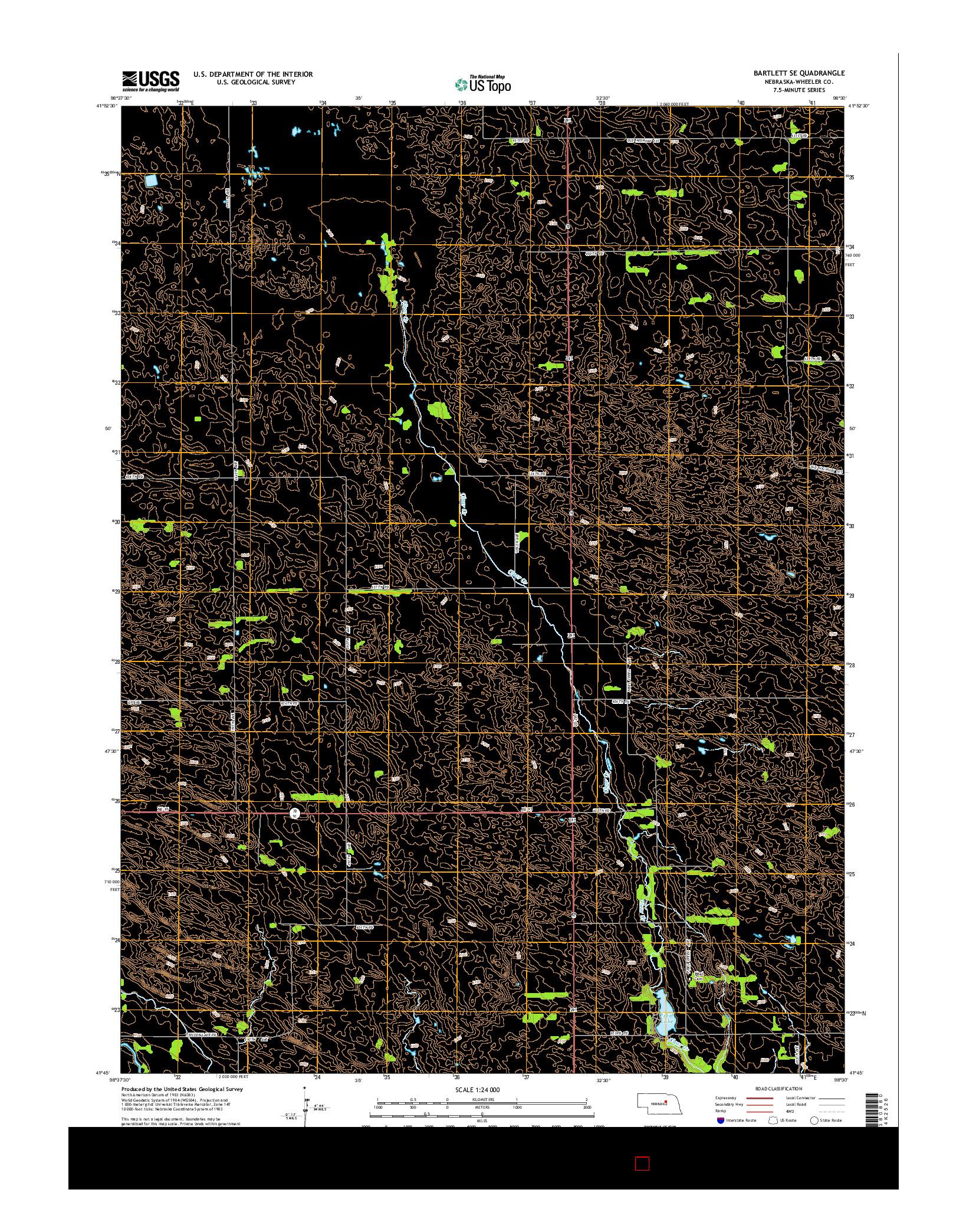 USGS US TOPO 7.5-MINUTE MAP FOR BARTLETT SE, NE 2014