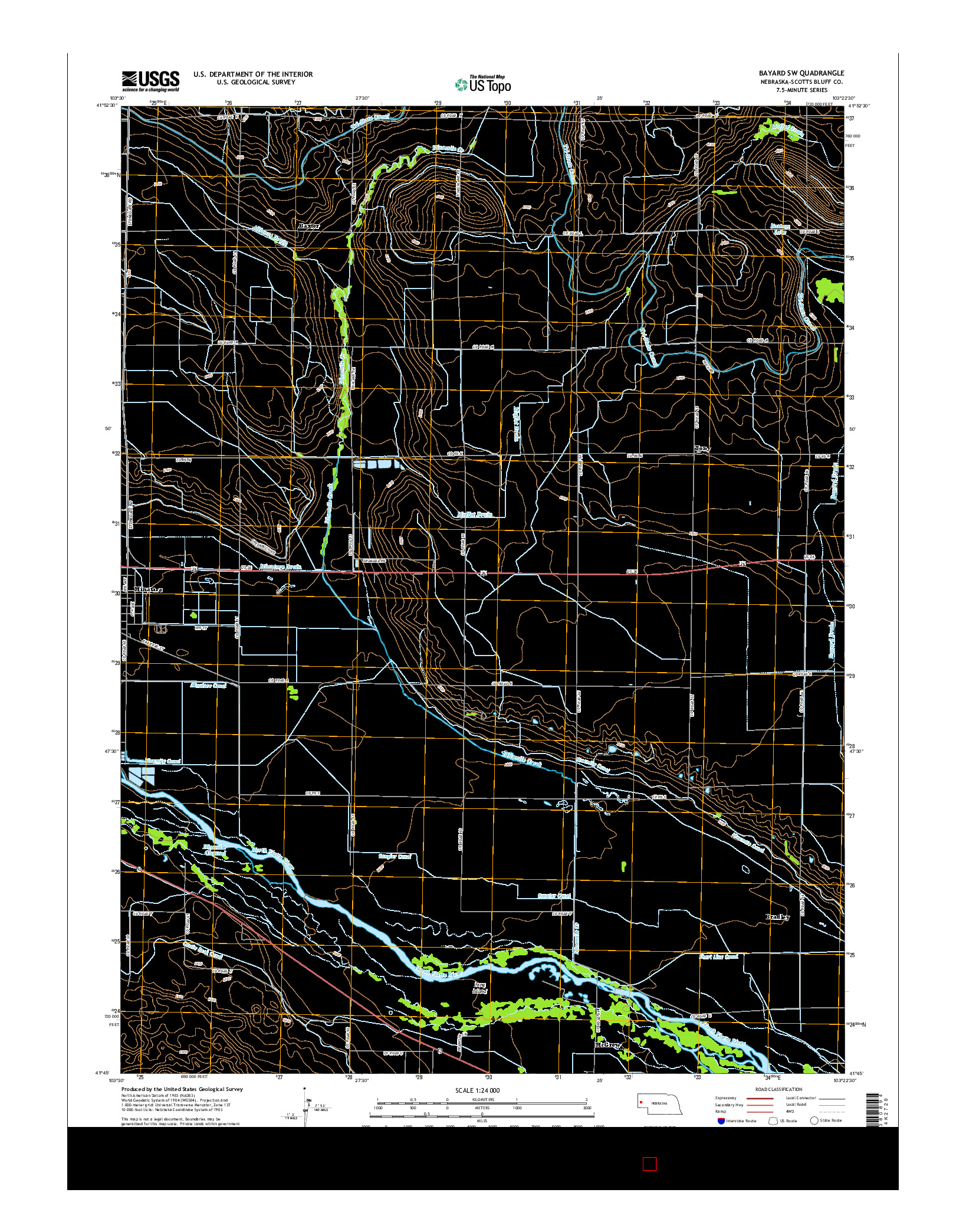 USGS US TOPO 7.5-MINUTE MAP FOR BAYARD SW, NE 2014