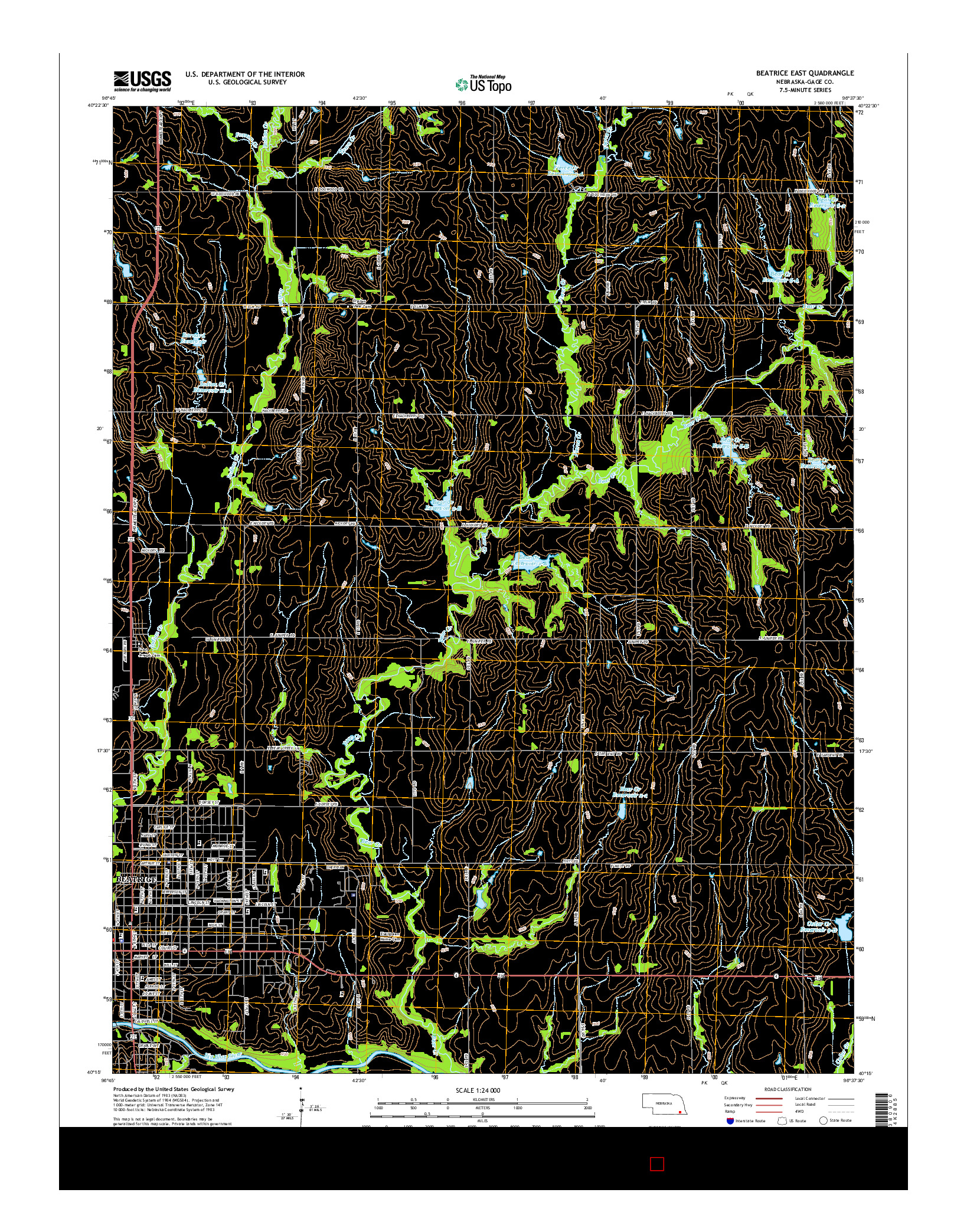 USGS US TOPO 7.5-MINUTE MAP FOR BEATRICE EAST, NE 2014