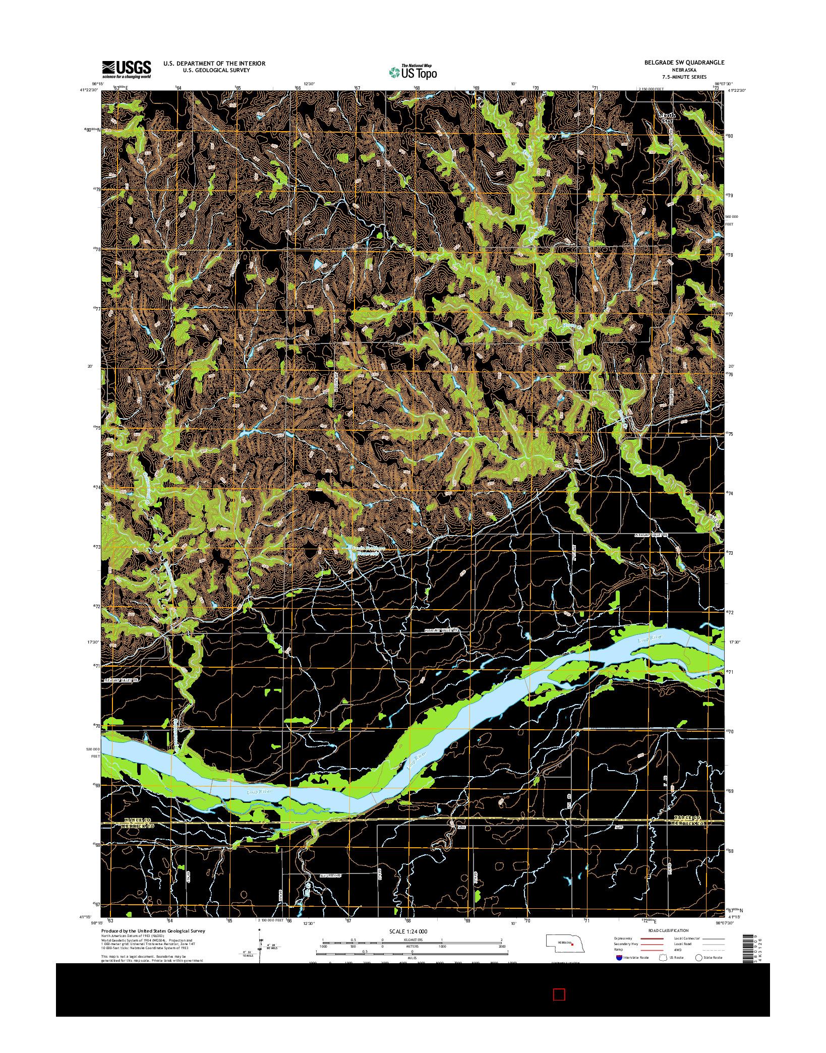 USGS US TOPO 7.5-MINUTE MAP FOR BELGRADE SW, NE 2014