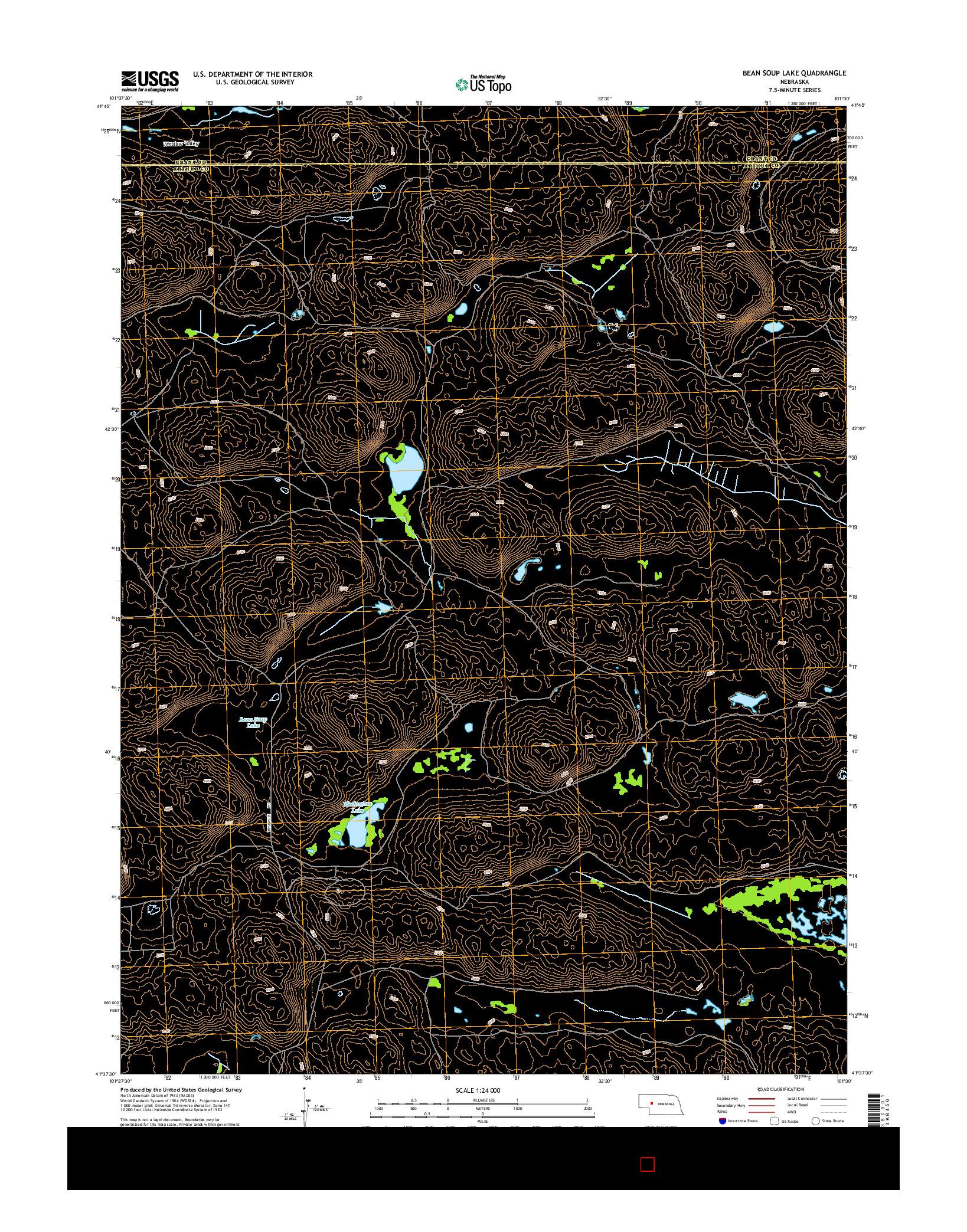 USGS US TOPO 7.5-MINUTE MAP FOR BEAN SOUP LAKE, NE 2014