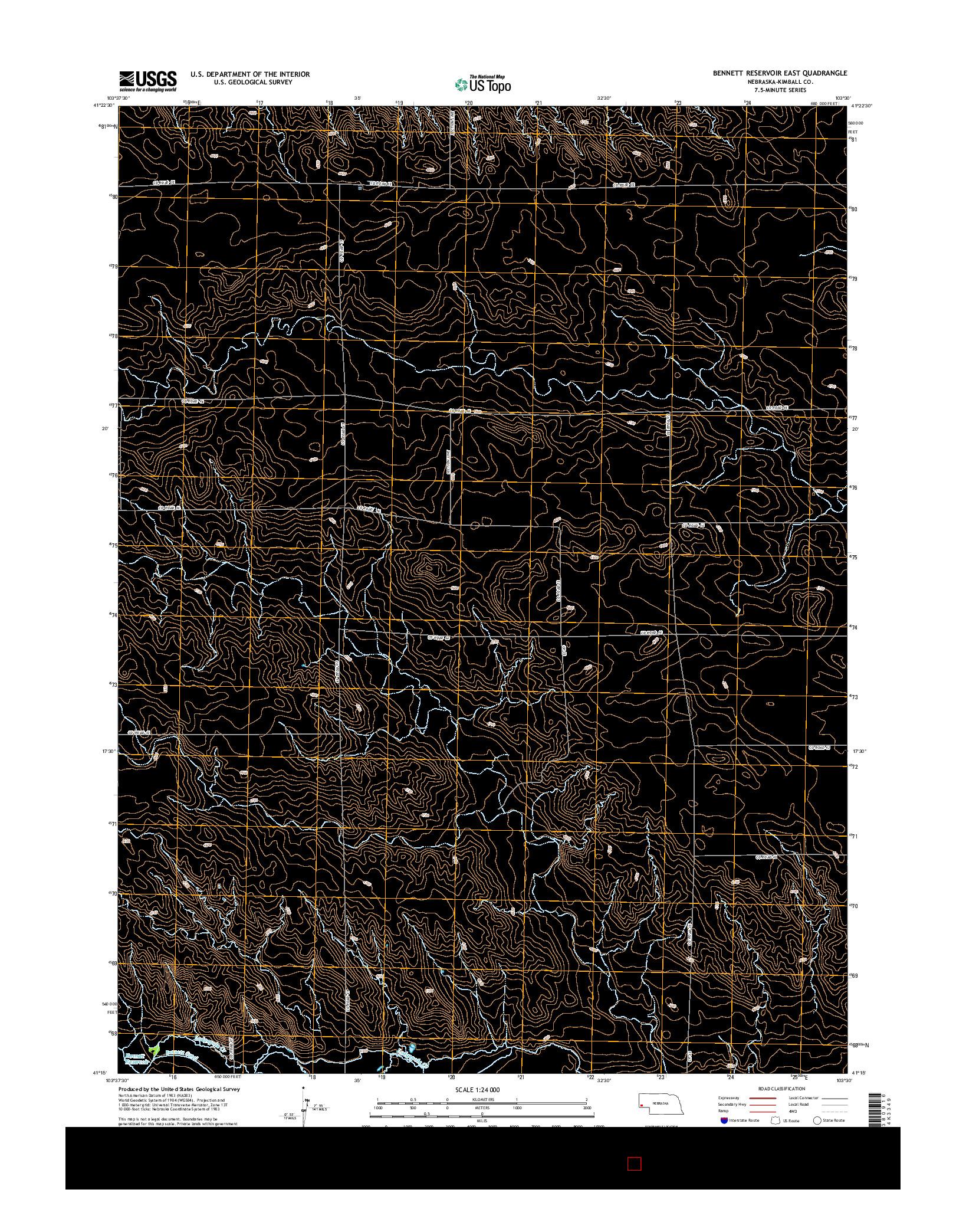 USGS US TOPO 7.5-MINUTE MAP FOR BENNETT RESERVOIR EAST, NE 2014