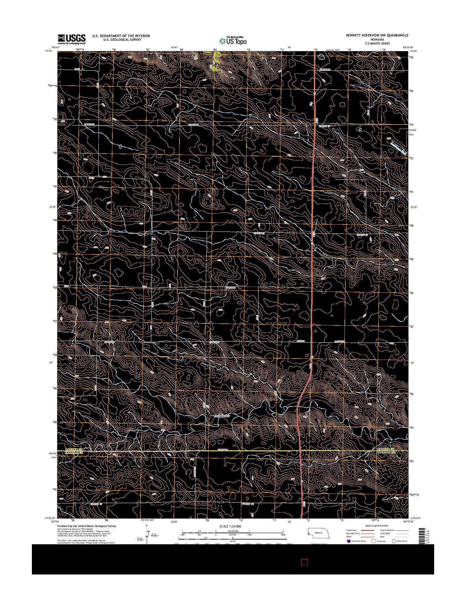USGS US TOPO 7.5-MINUTE MAP FOR BENNETT RESERVOIR NW, NE 2014