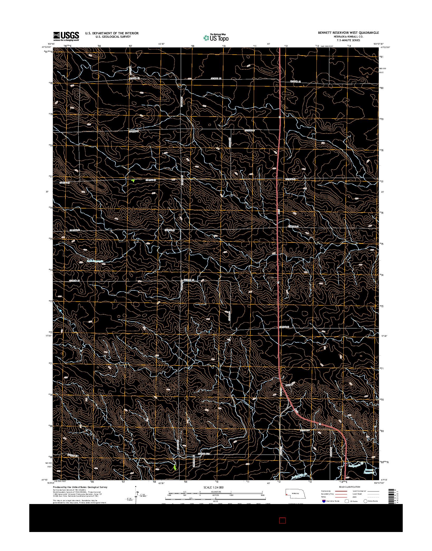 USGS US TOPO 7.5-MINUTE MAP FOR BENNETT RESERVOIR WEST, NE 2014