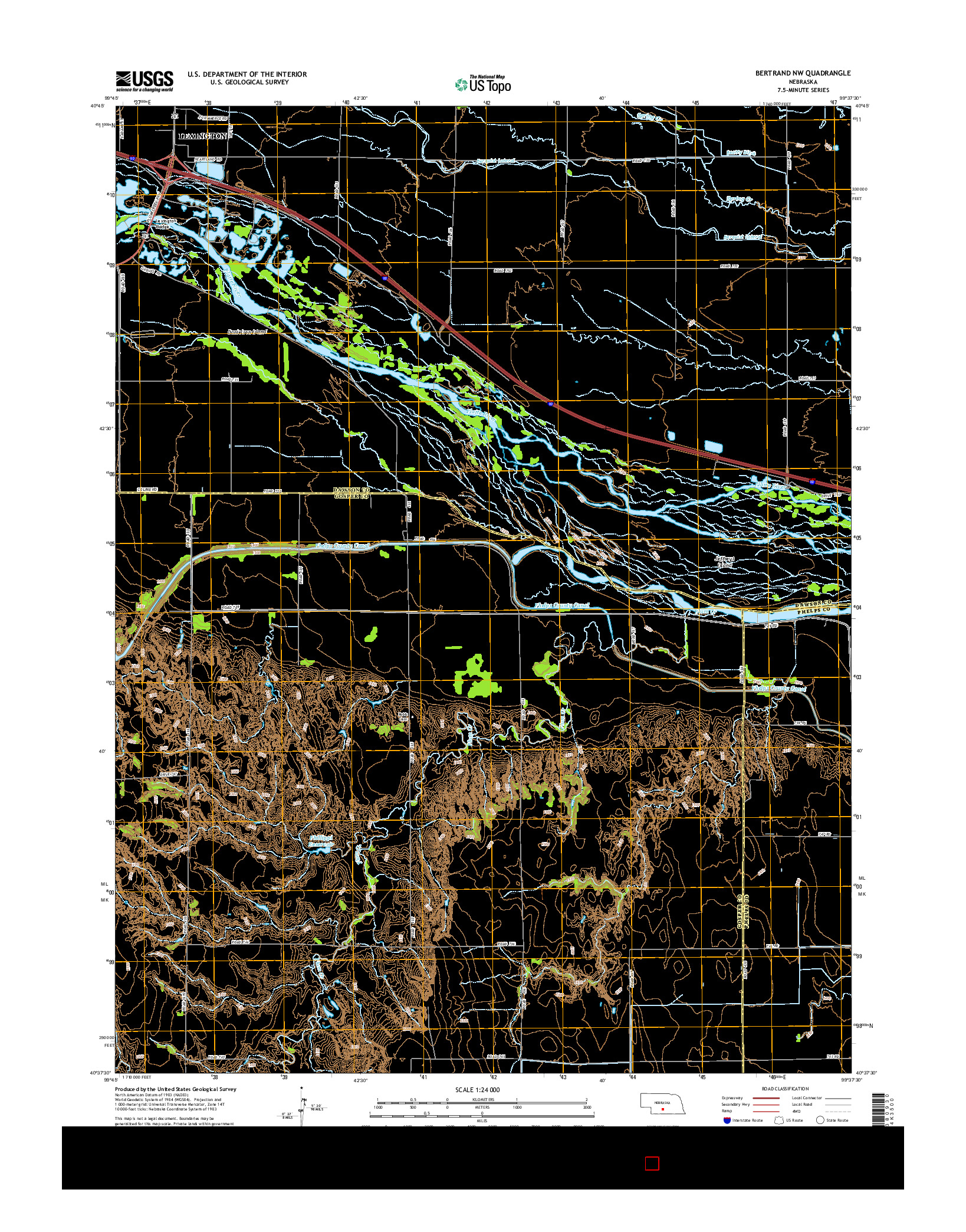 USGS US TOPO 7.5-MINUTE MAP FOR BERTRAND NW, NE 2014