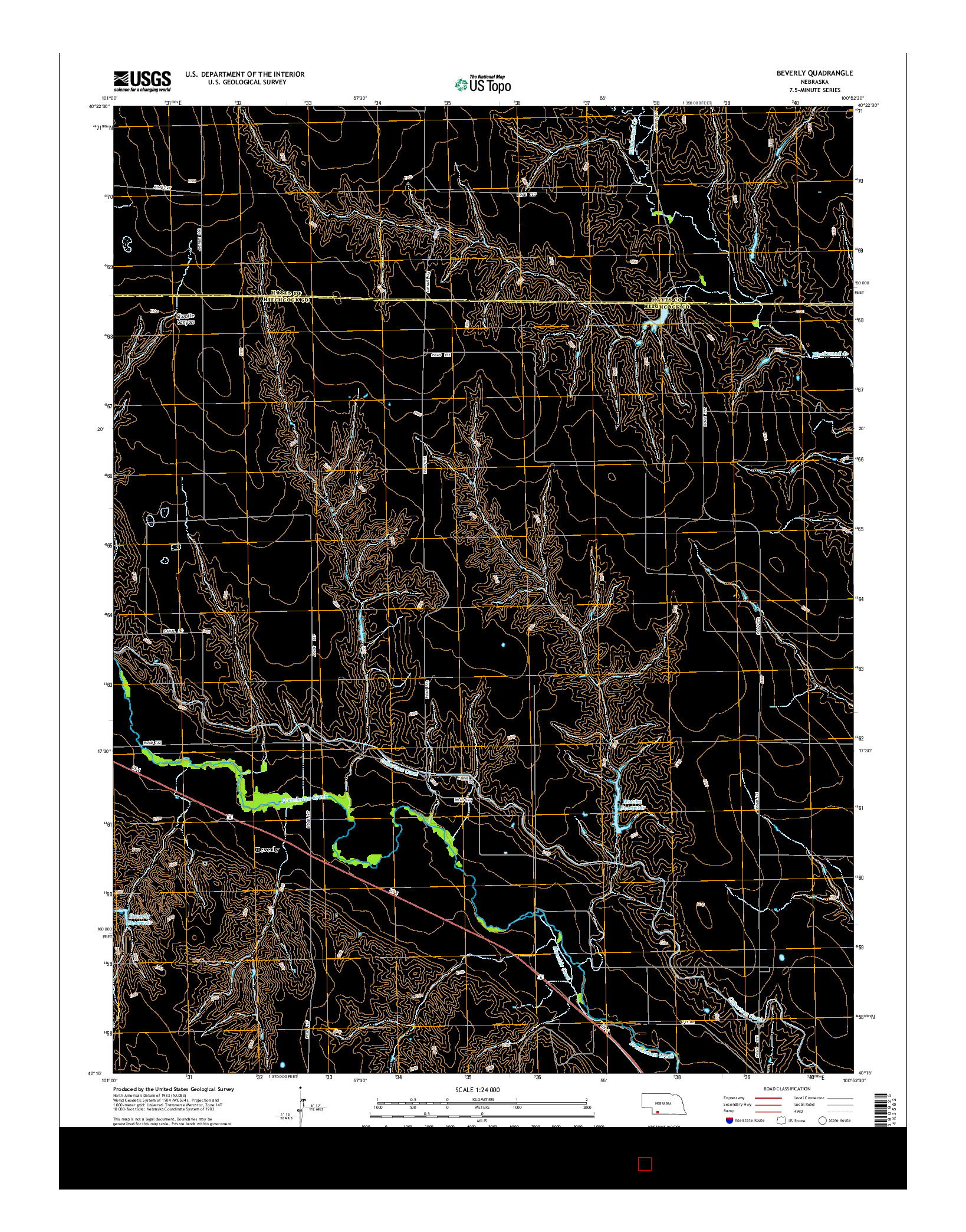 USGS US TOPO 7.5-MINUTE MAP FOR BEVERLY, NE 2014